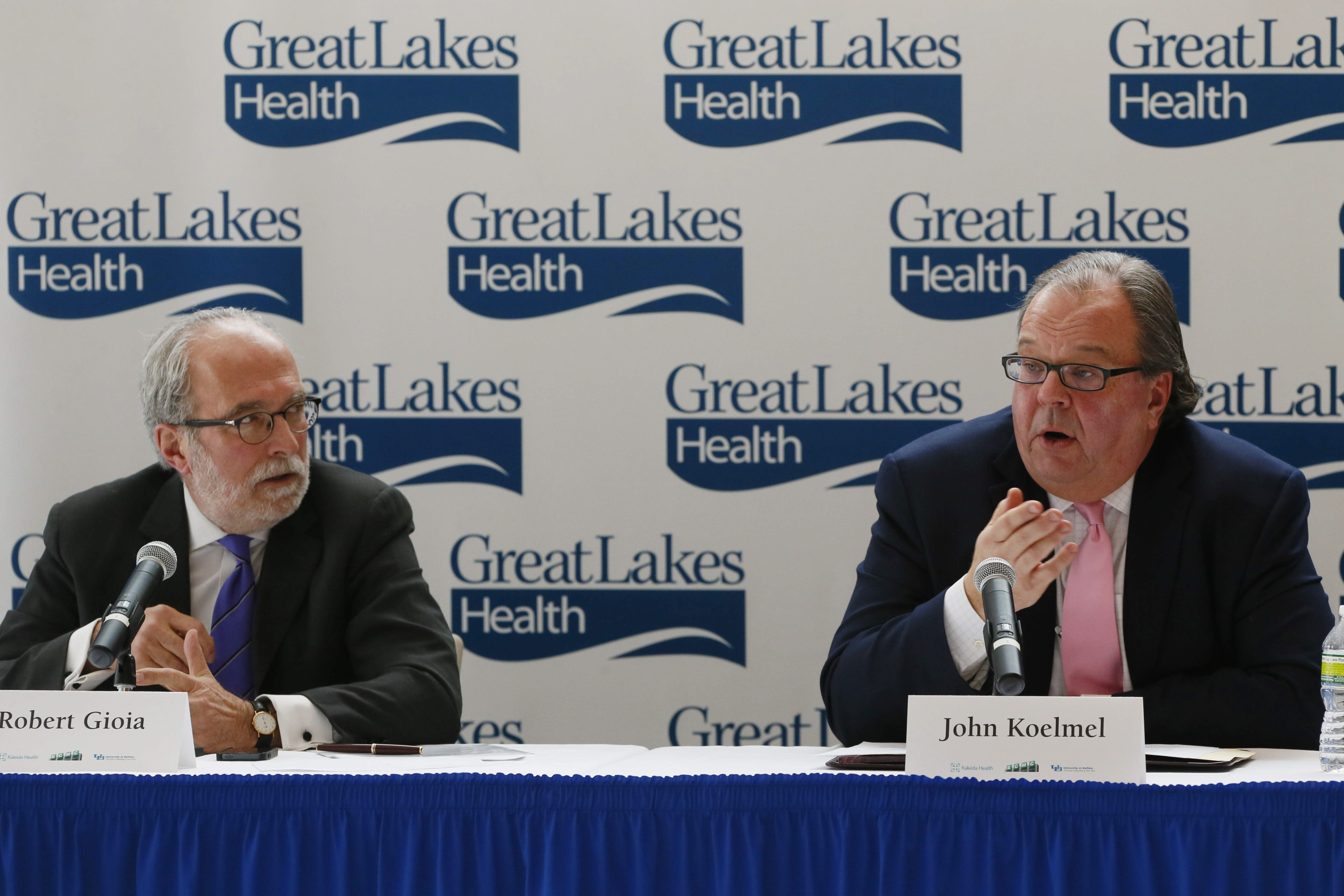 John Koelmel, chairman of the Kaleida Health board of directors, speaks during a press conference to announce James Kaskie has resigned as CEO and will be replaced on an interim basis by ECMC CEO Jody Lomeo today.