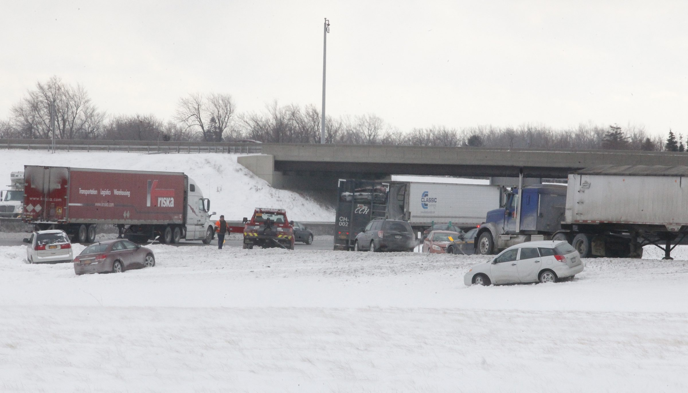 Multiple vehicle are off the road after being involved in an accident Wednesday afternoon on the entrance ramp to the Thruway westbound from the 400.