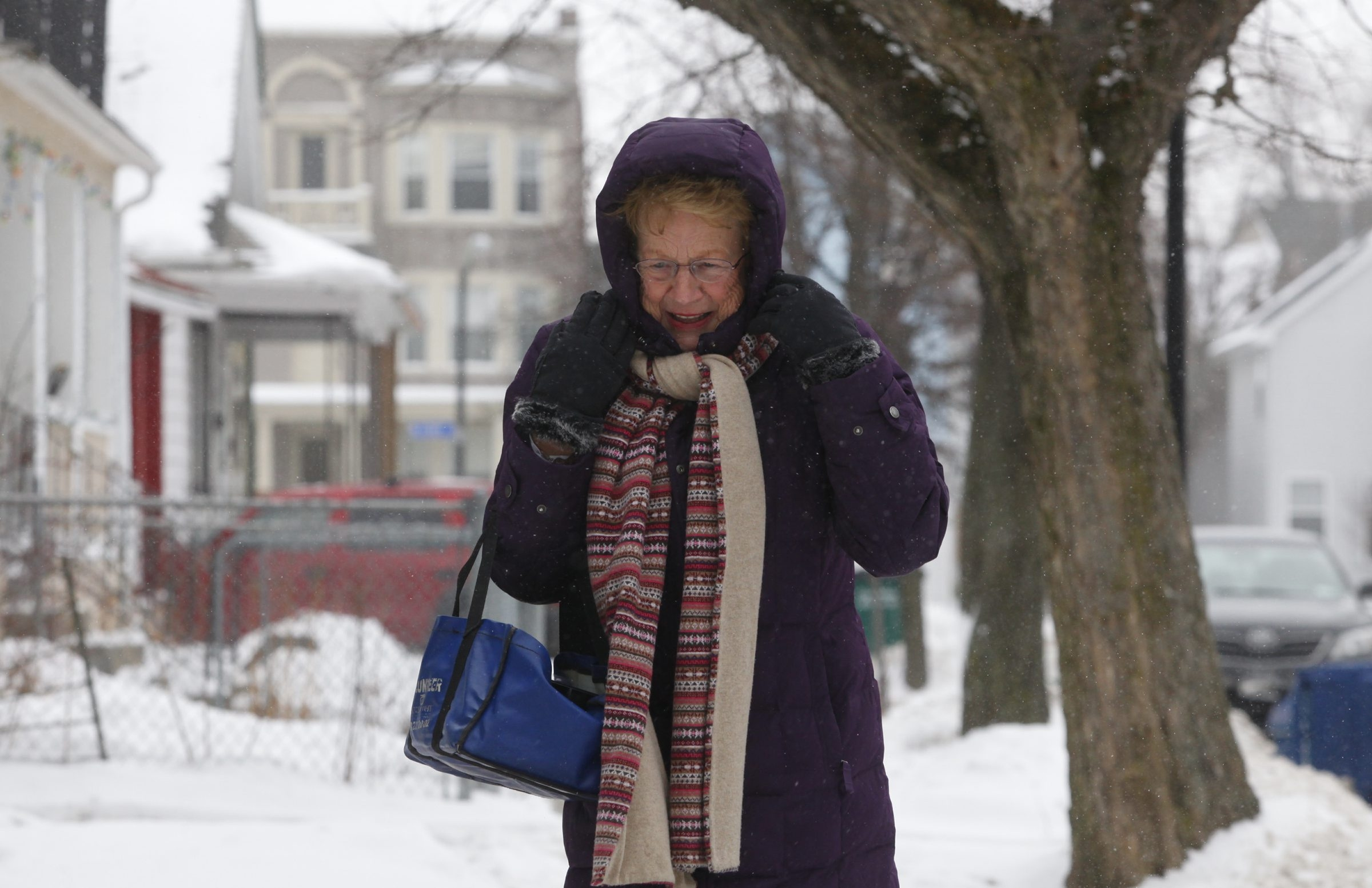 Meals on Wheels volunteer Judy Marine, 75, braves Wednesday's arctic conditions to ensure that West Side residents' needs are met.