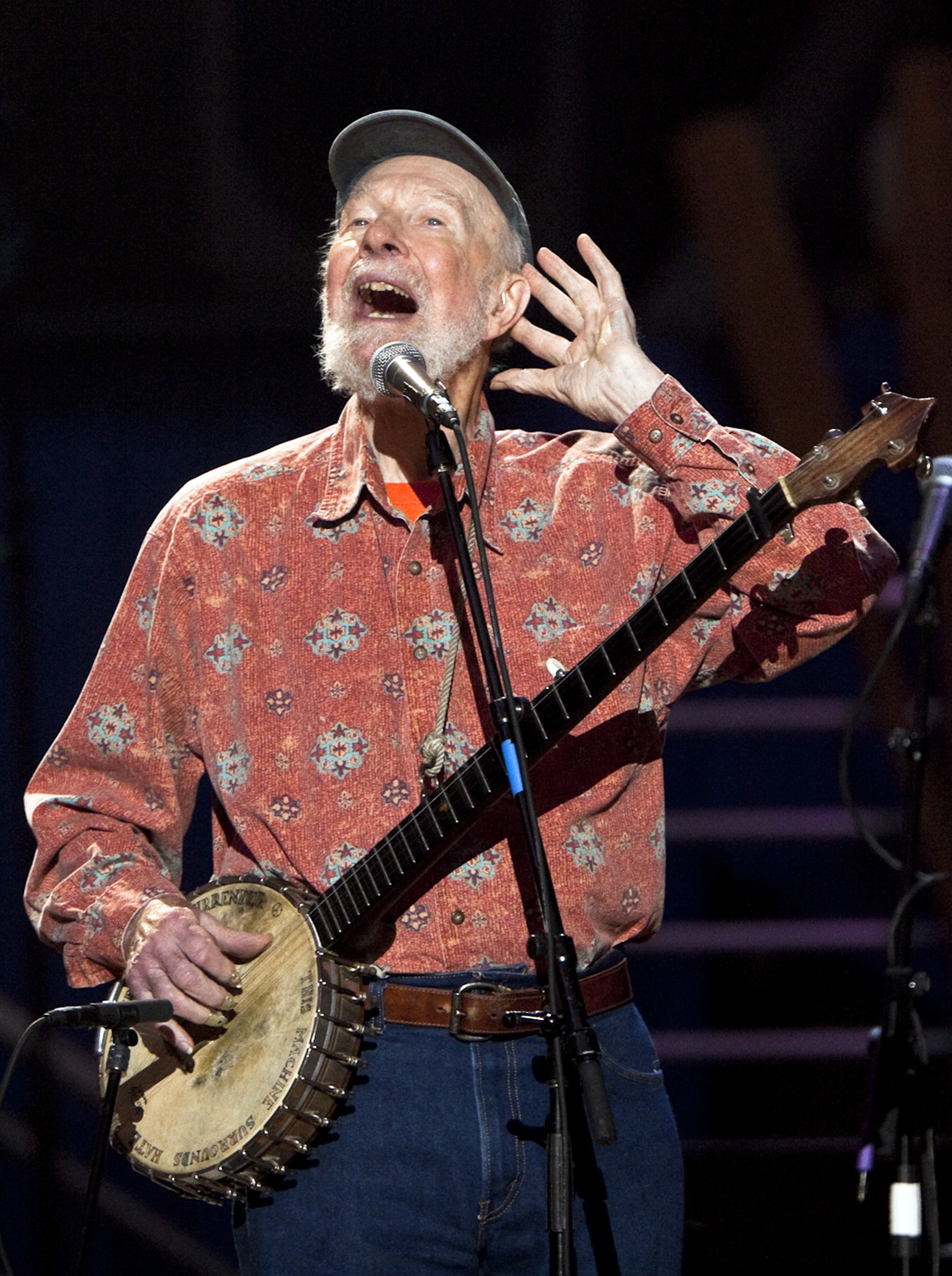Pete Seeger performing during his 90th birthday event in New York's Madison Square Garden in 2009. He spent his life championing folk music.