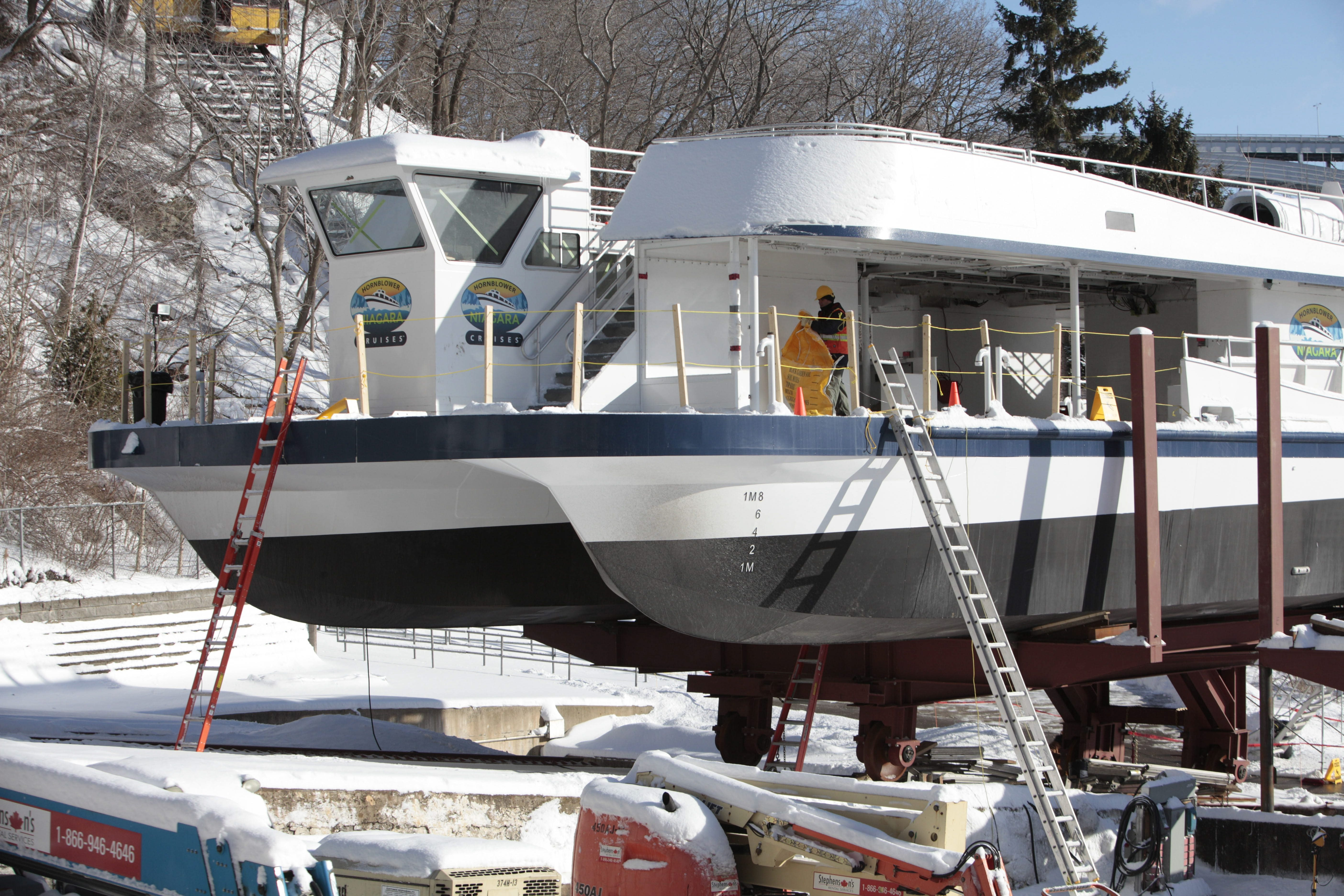 The first catamaran is nearly assembled at Hornblower Niagara Cruises in Niagara Falls, Ont., Monday, Jan. 27, 2014.   Parts of the second catamaran were supposed to arrive today but were delayed due to weather.  Each catamaran weighs 120 tons and costs about $5 million.  (Derek Gee/Buffalo News)