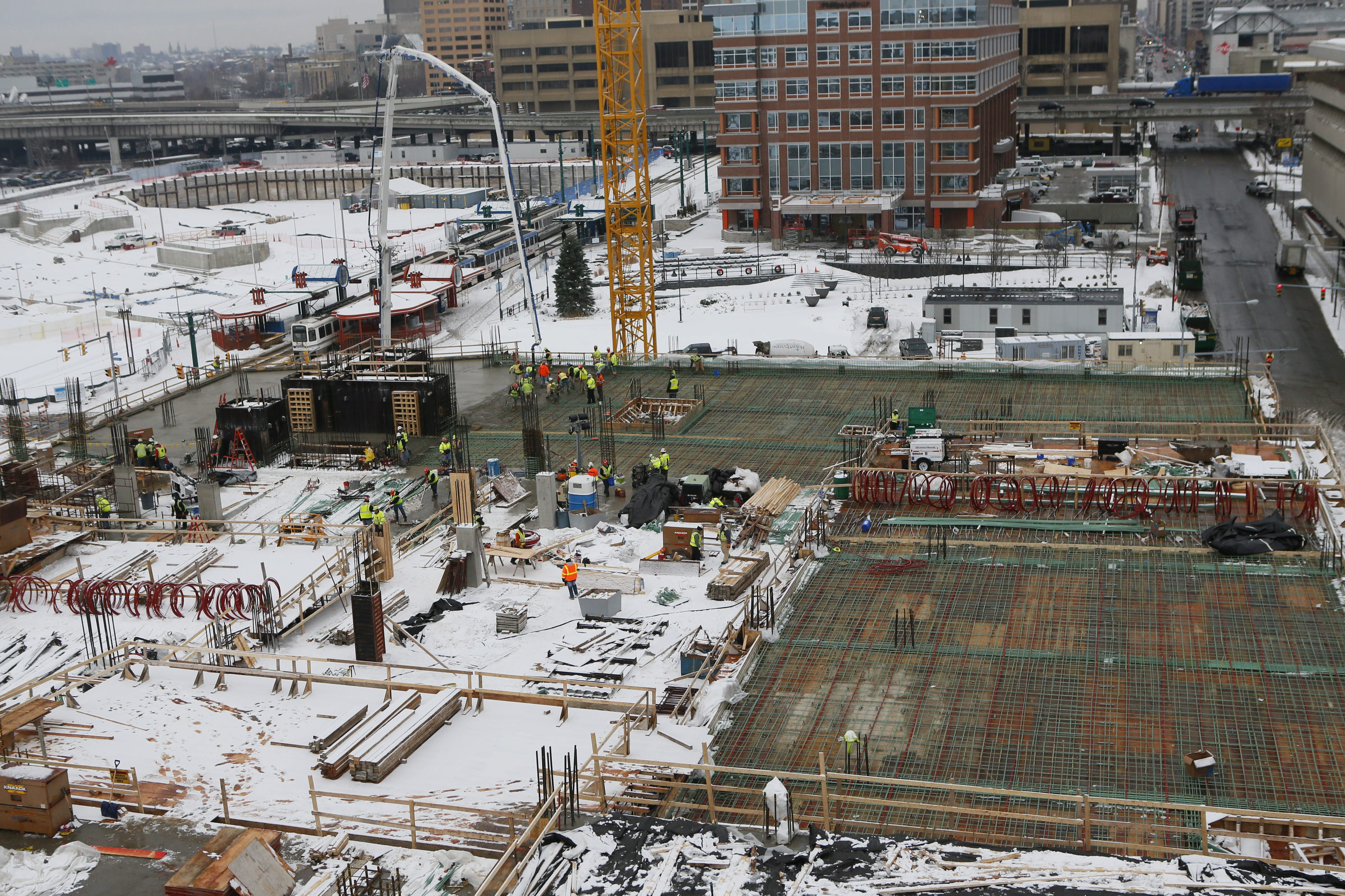 View from south tower crane reflects progress at HarborCenter,  as floors for the twin ice rinks and training facilities take shape.