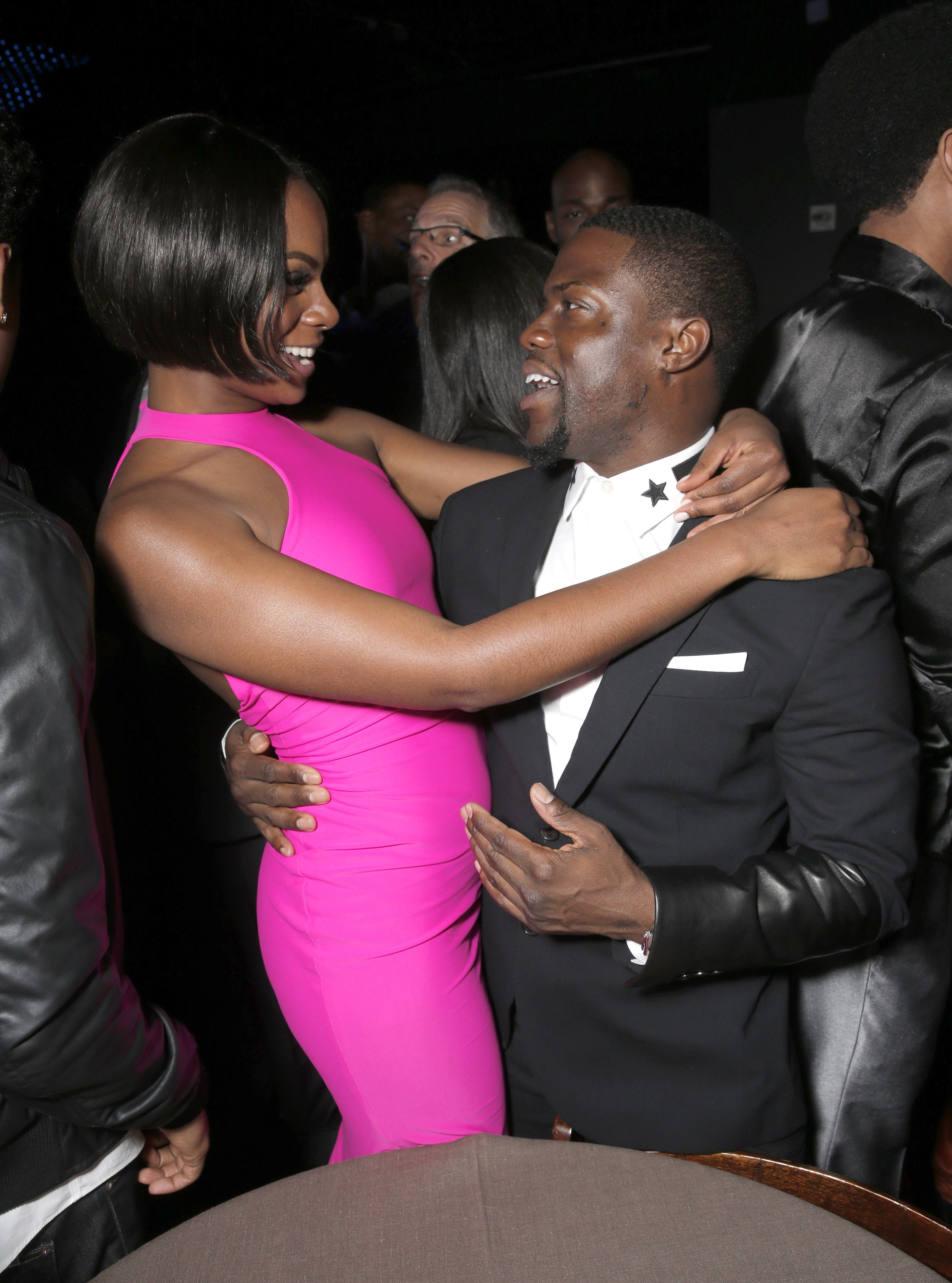 """Kevin Hart and co-star Tika Sumpter were all smiles at the """"Ride Along"""" Los Angeles premiere on Jan. 13. The movie has been No. 1 at the box office for two weeks."""