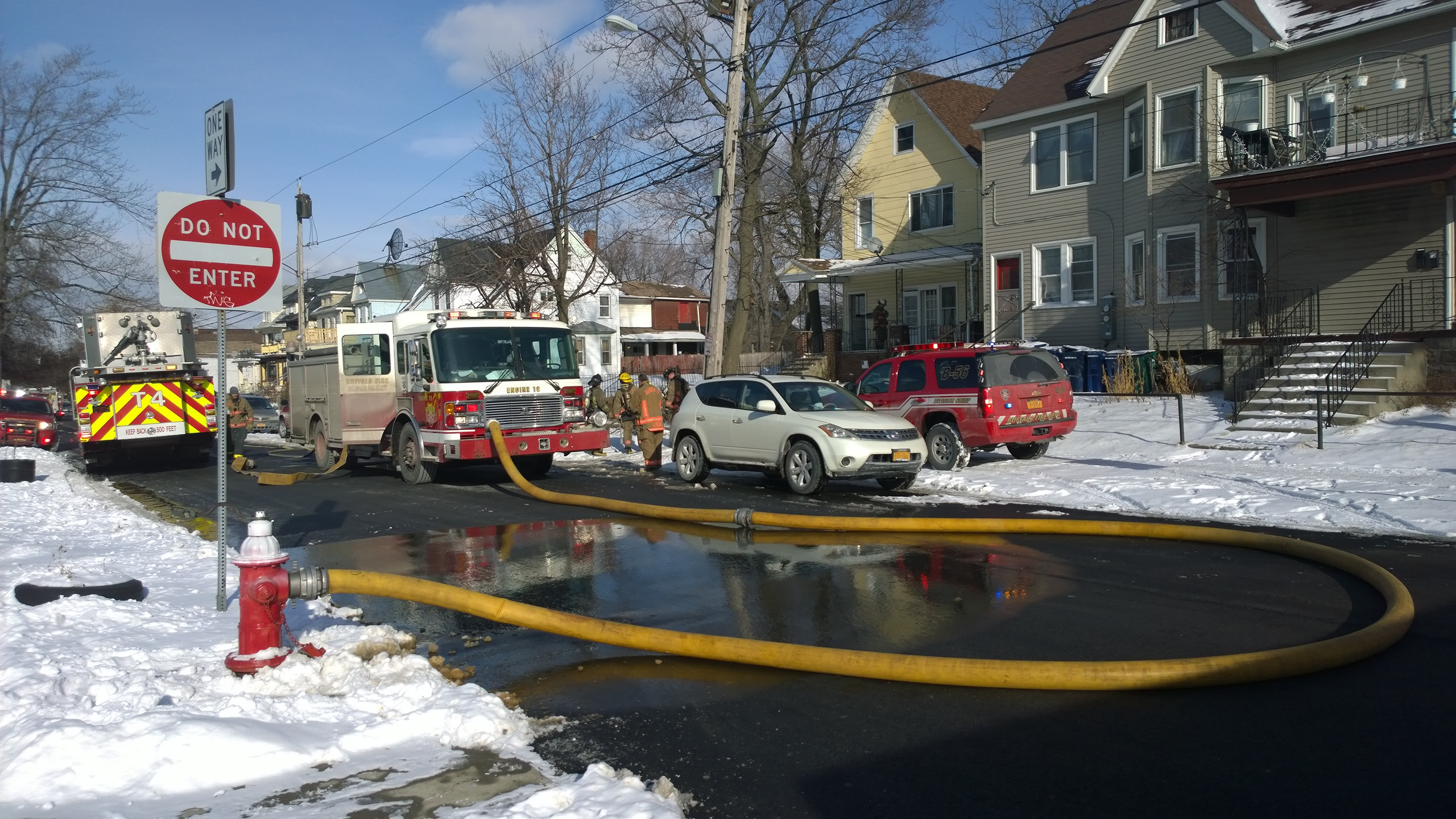 Buffalo firefighters were called out twice Wednesday to battle a blaze at 1177 West Ave. by an occupant trying to thaw frozen pipes.