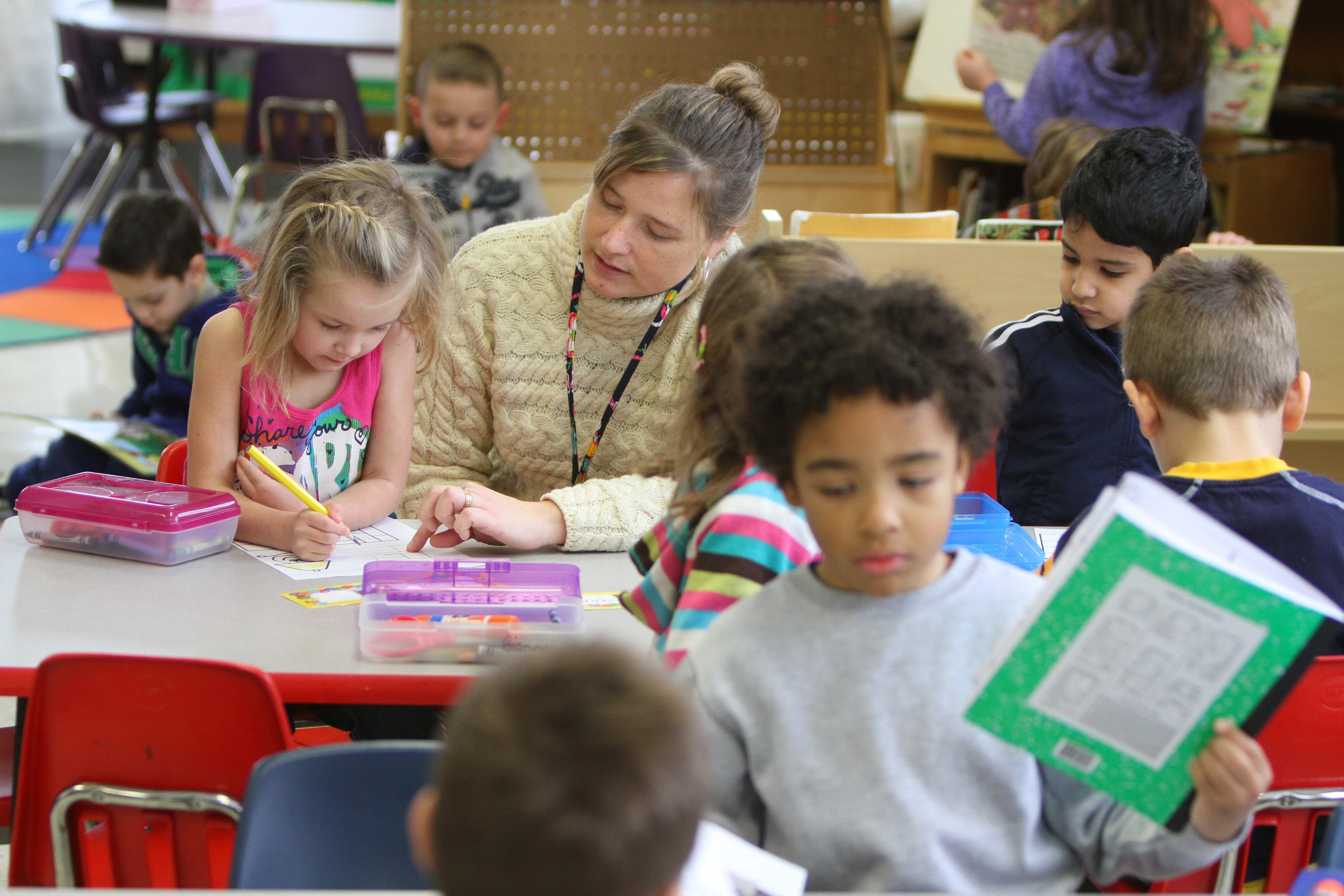Teacher Michelle White teaches her pre-kindergarten students Tuesday at Sidway Elementary School on Grand Island.