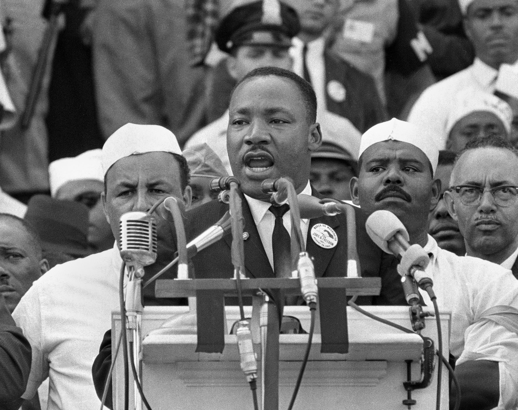 """Dr. Martin Luther King Jr. addresses marchers during his """"I Have a Dream"""" speech at the Lincoln Memorial in Washington in 1963."""
