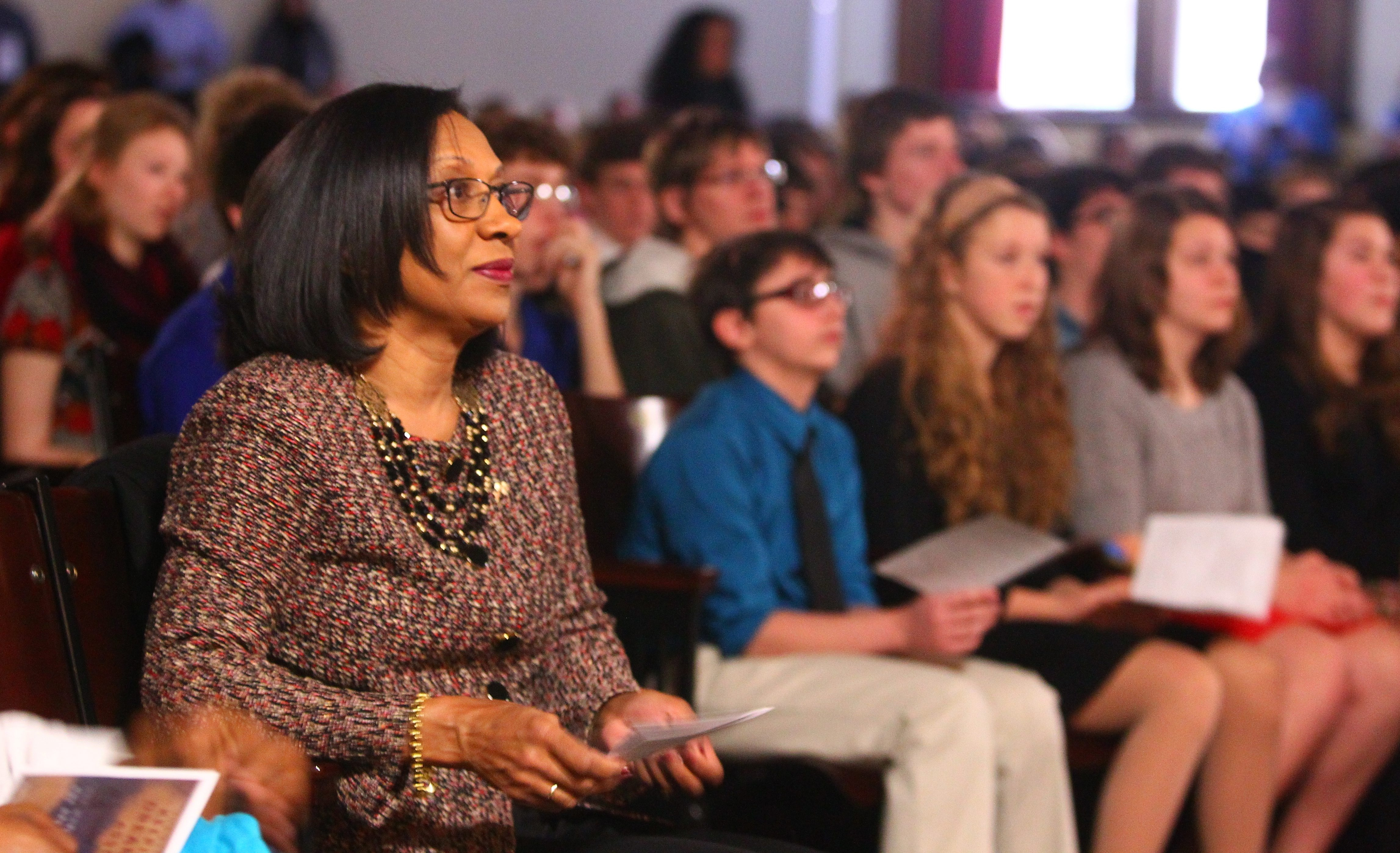 Superintendent Pamela C. Brown attends City Honors School's Keeping the Dream Alive assembly on Friday.