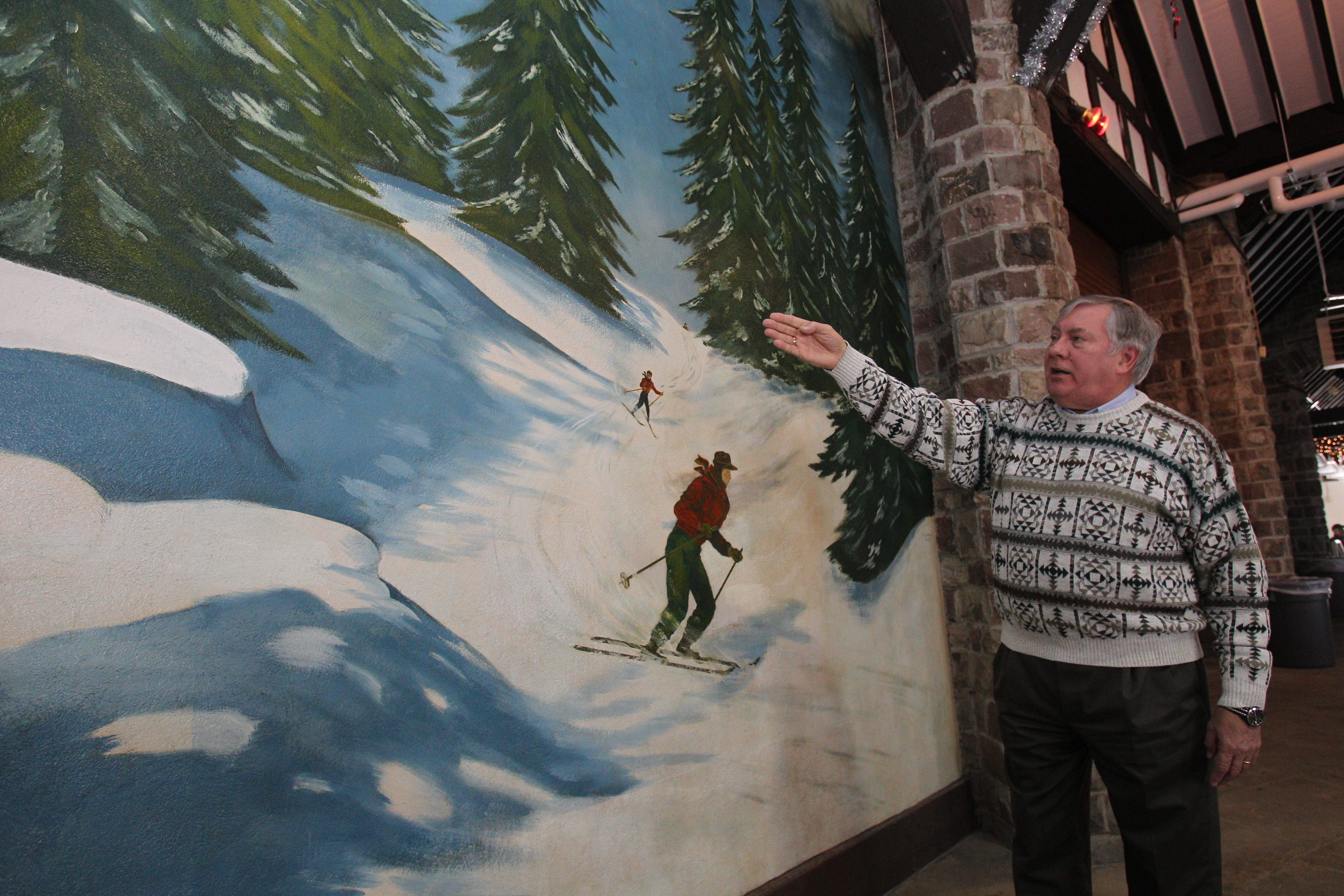 Ronald J. Michnik, founding trustee for the Chestnut Ridge Park Conservancy, says work is underway to restore the five murals painted in the casino by Bernard C. Feldman in 1948.