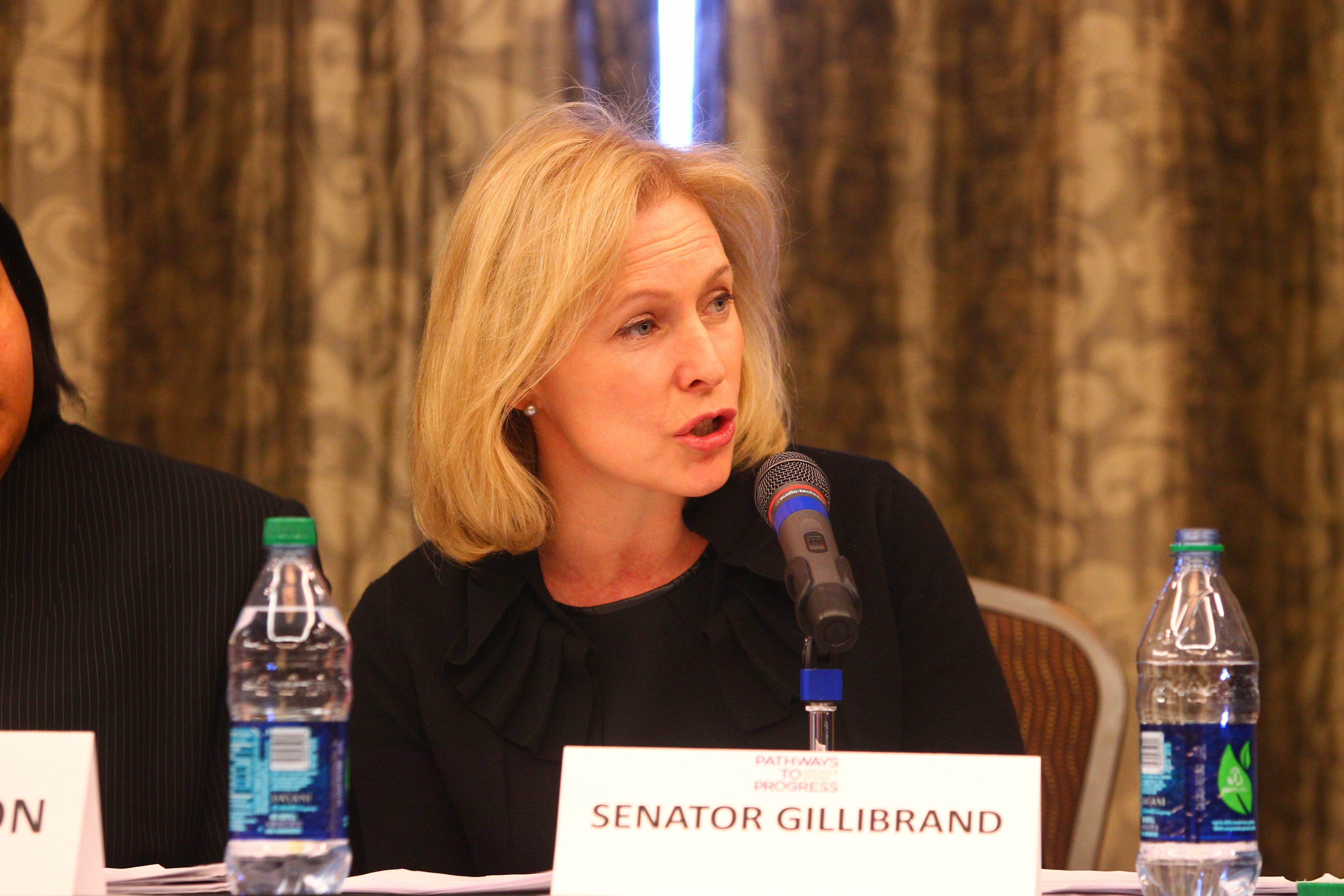 Sen. Kirsten Gillibrand outlines her plan during a visit to Buffalo today for the Western New York Women's Foundation Pathways to Progress Speaker Series at the Avant Building.