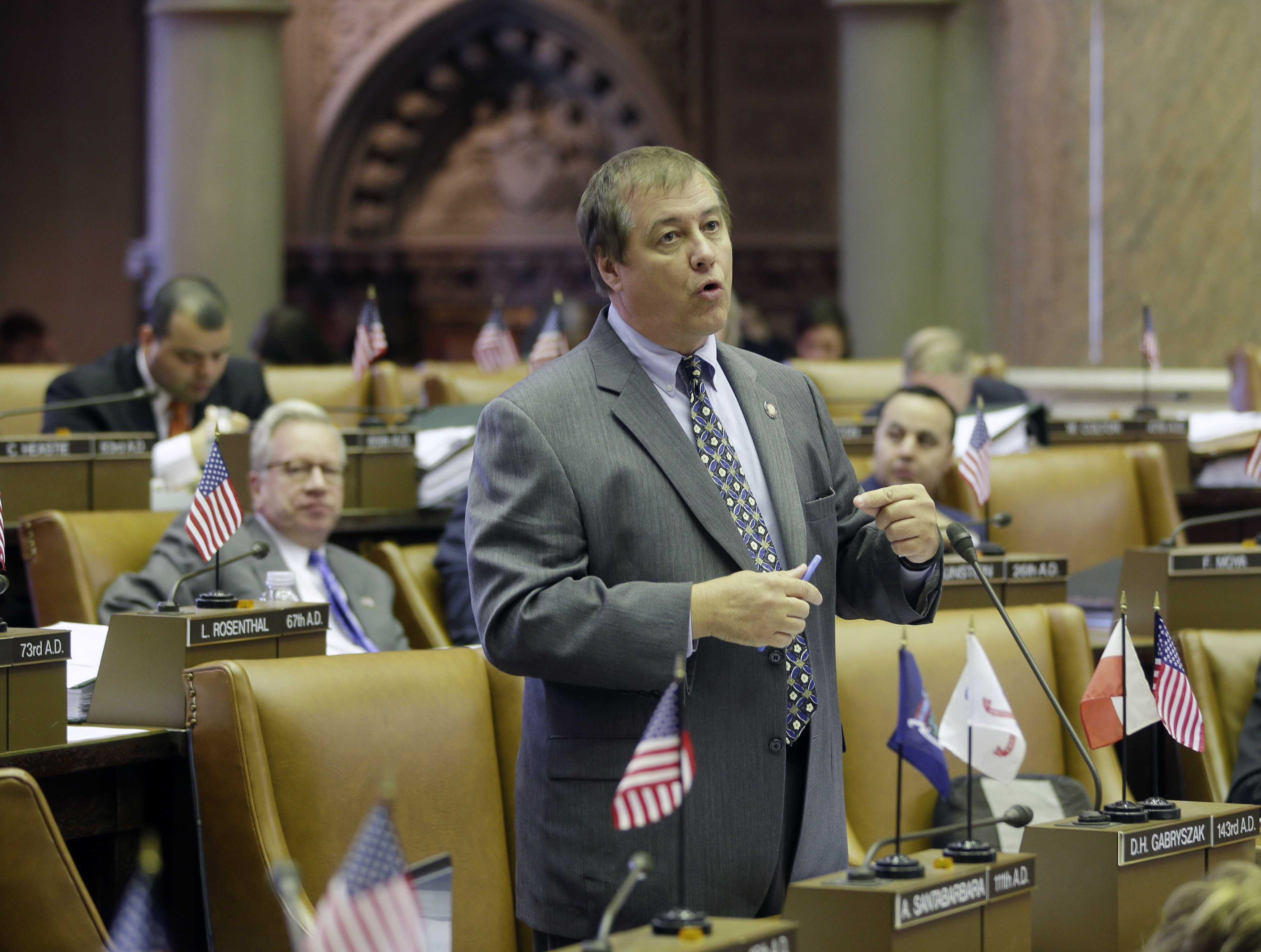 The State Legislature clearly has a problem with sexual harassment, as evidenced by the despicable behavior of Dennis Gabryszak, shown on the floor of the Assembly June 13, 2013. (AP file photo)