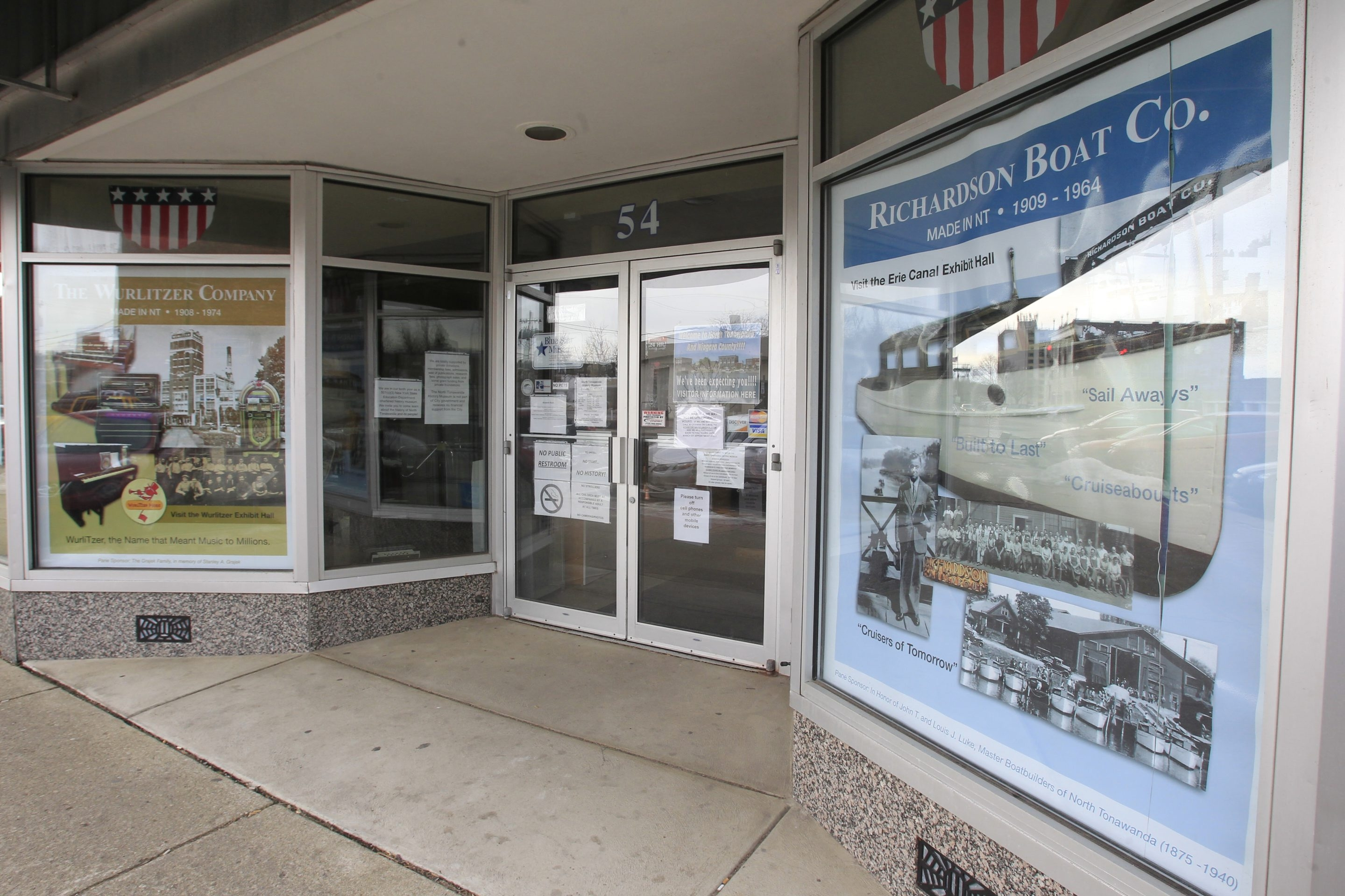 The North Tonawanda History Museum, located in the former G.C. Murphy department store on Webster Street, has 16 sponsors paying $400 each to redo one of the 25 window panes to protect items on exhibit and to inform passers-by.