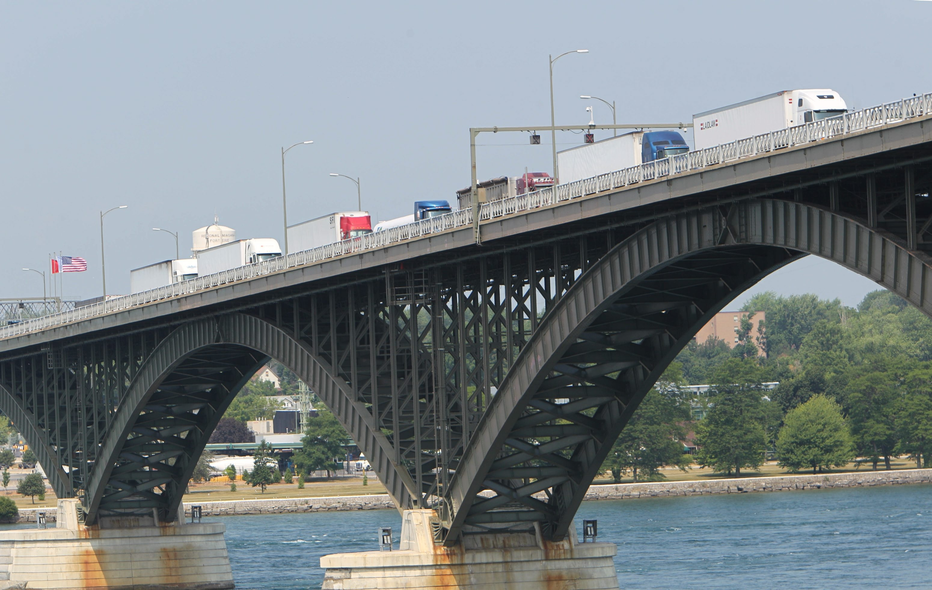 Tractor trailers line up on the Peace Bridge waiting to get through U.S. Customs.