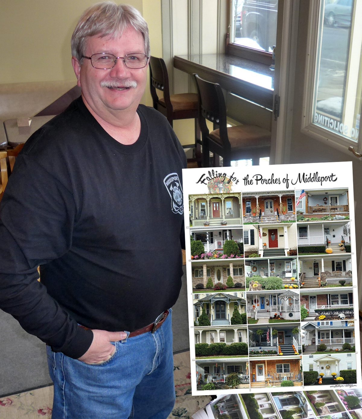 """Middleport Mayor Richard Westcott's porch was featured on the """"Falling for the Porches of Middleport"""" poster. The poster is part of a promotional campaign for the village and was photographed by Middleport native Gretchen Schweigert."""