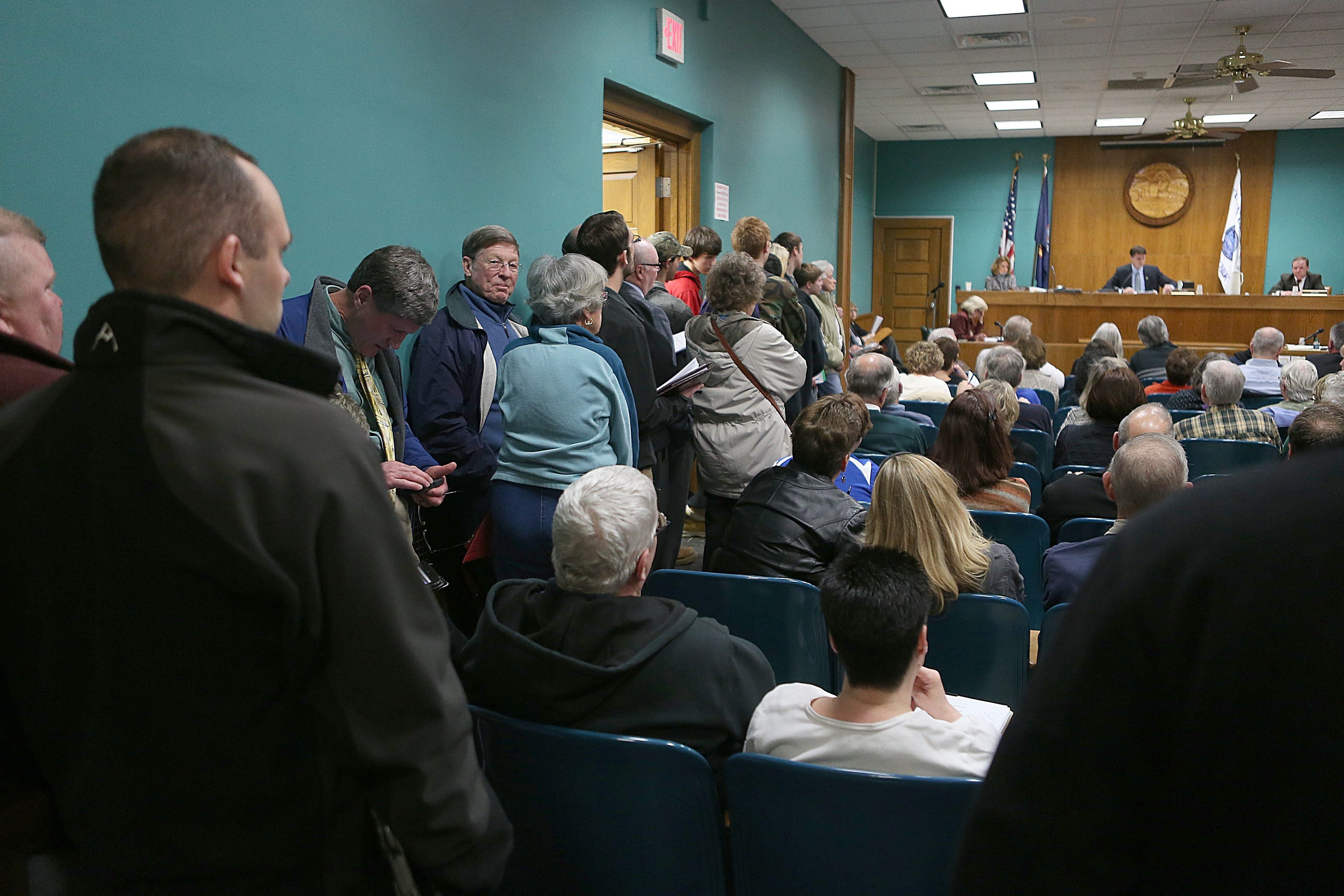 There was an overflow crowd at the Hamburg Town Board reorganization meeting Monday night, as a new Democratic majority took over the board and introduced some bold measures.