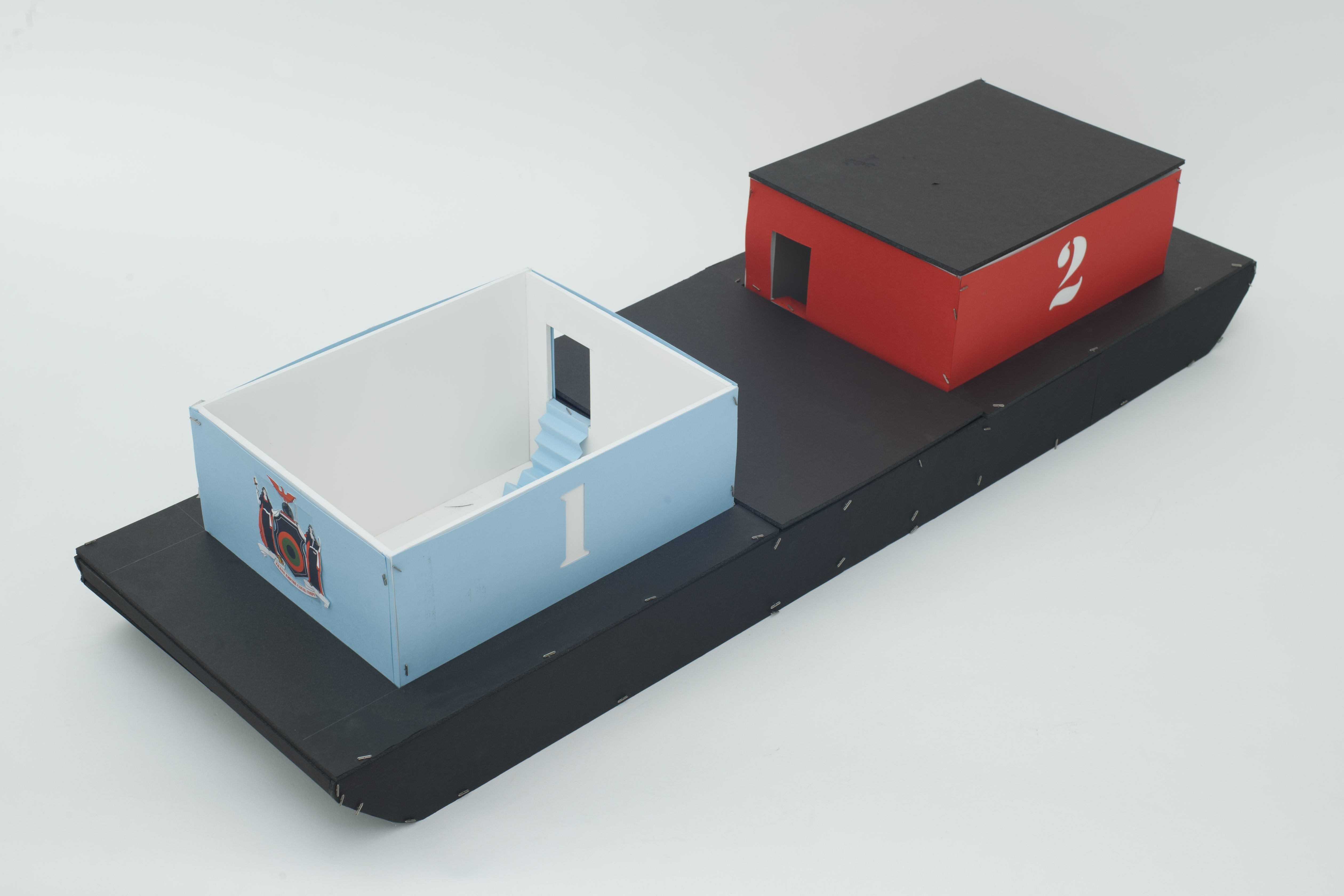 This artist's model shows  the proposed art barge that planners hope can set sail along the Erie Canal by summer 2015.
