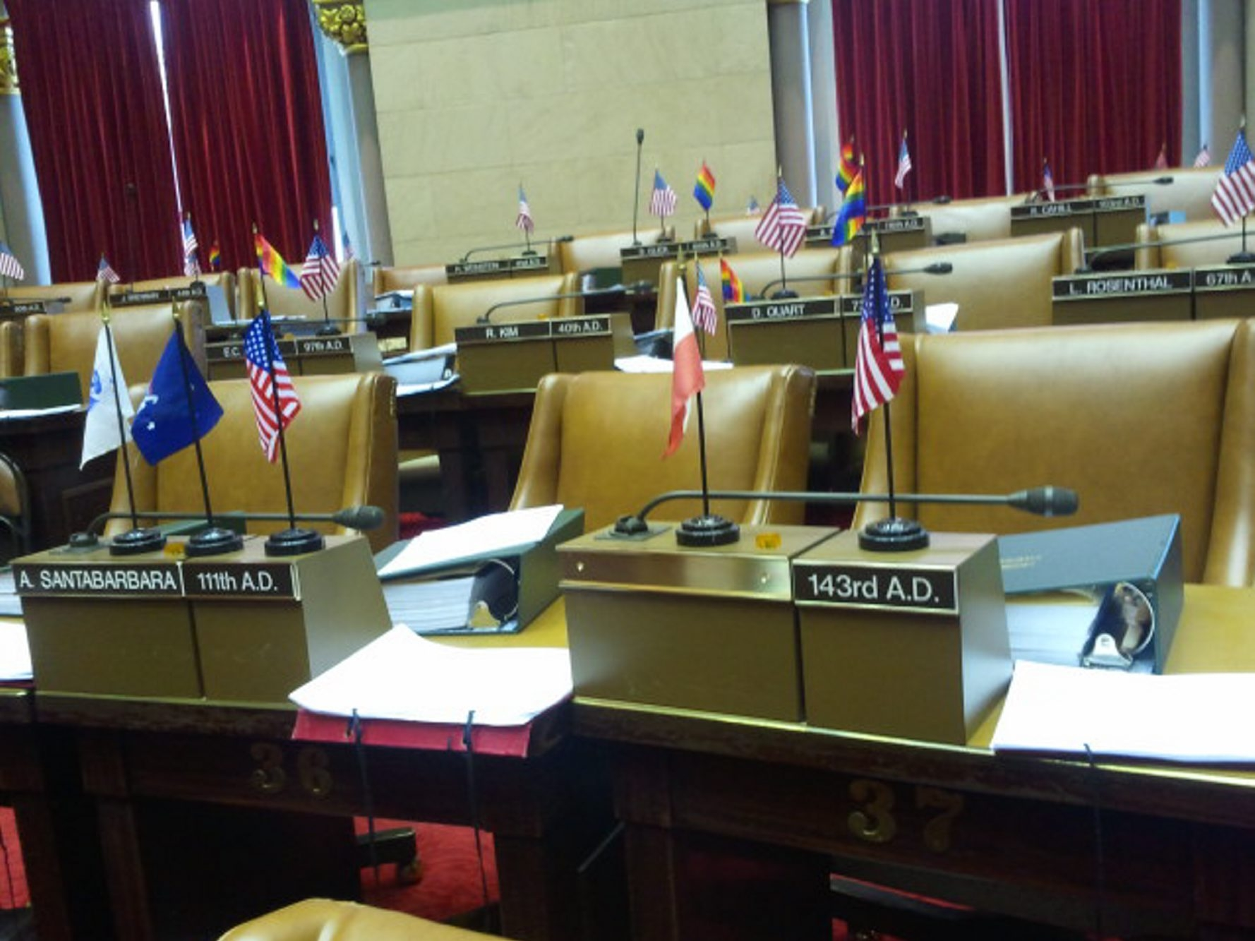 The nameplate has been removed at the seat formerly occupied by Dennis Gabryszak, who resigned from the State Assembly on Sunday. (Photo by Tom Precious/Buffalo News)