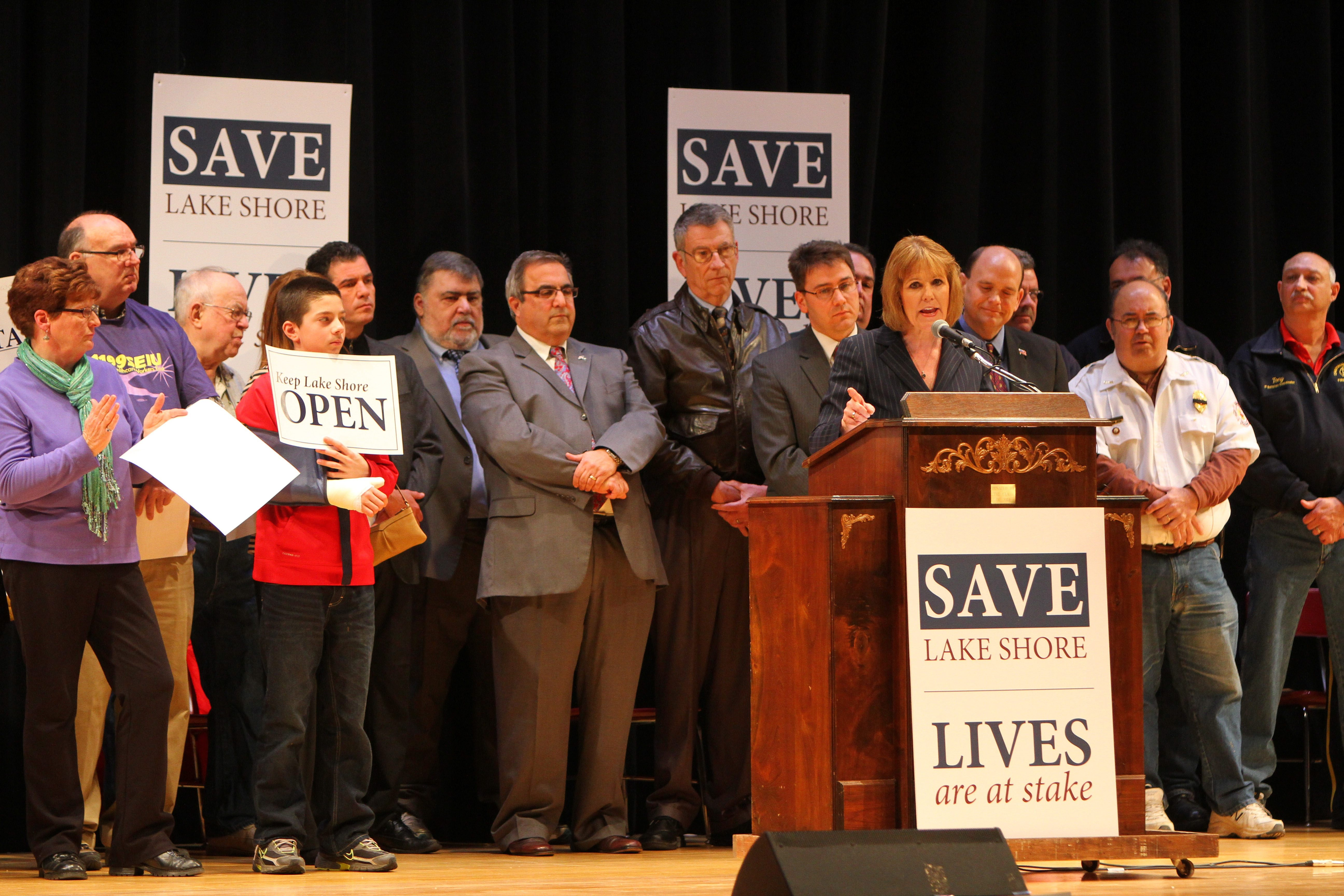 State Sen. Catharine Young speaks in a packed Silver Creek High School Auditorium during a rally to save Lake Shore Health Care Center on Saturday. Young told the crowd that Gov. Andrew M. Cuomo supports efforts to keep the hospital open.