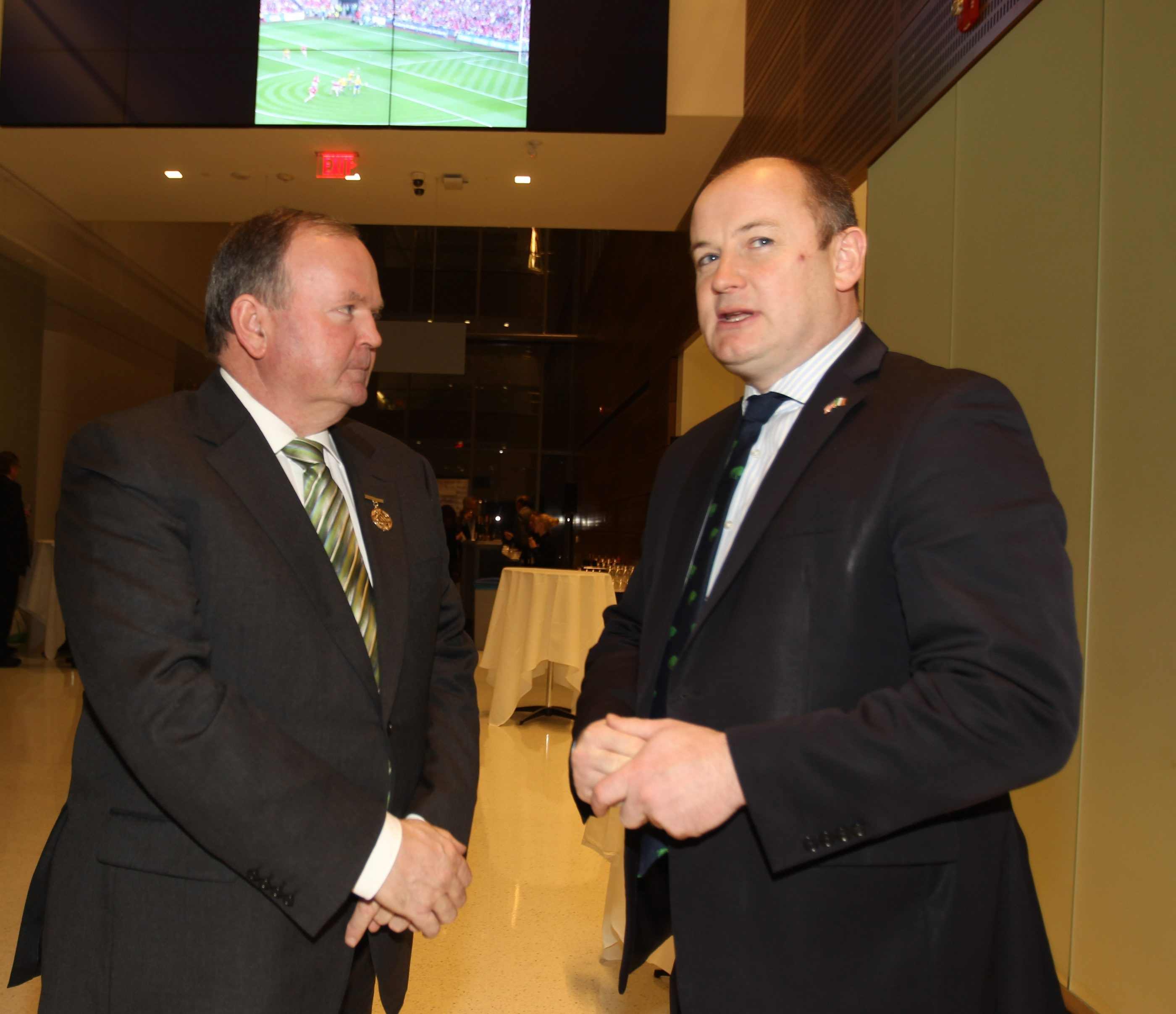 Two Irish dignitaries, Liam O'Neill, left, and Peter Ryan, praised the pending establishment of an Irish Network USA chapter in Buffalo on Friday.