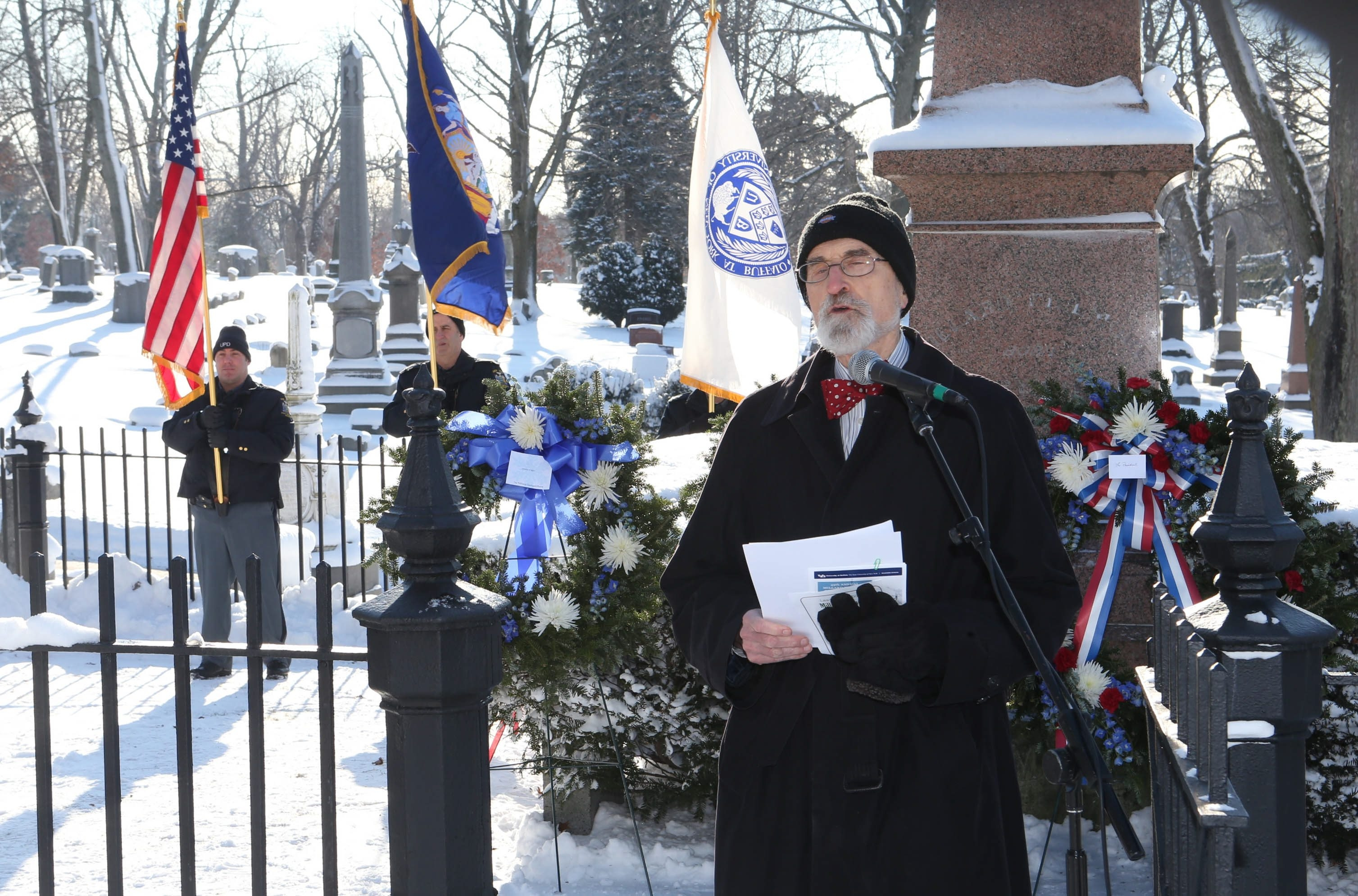 SUNY Distinguished Professor Claude E. Welch gives the address at the annual commemoration of Millard Fillmore's birthday at his gravesite in Forest Lawn on Thursday.