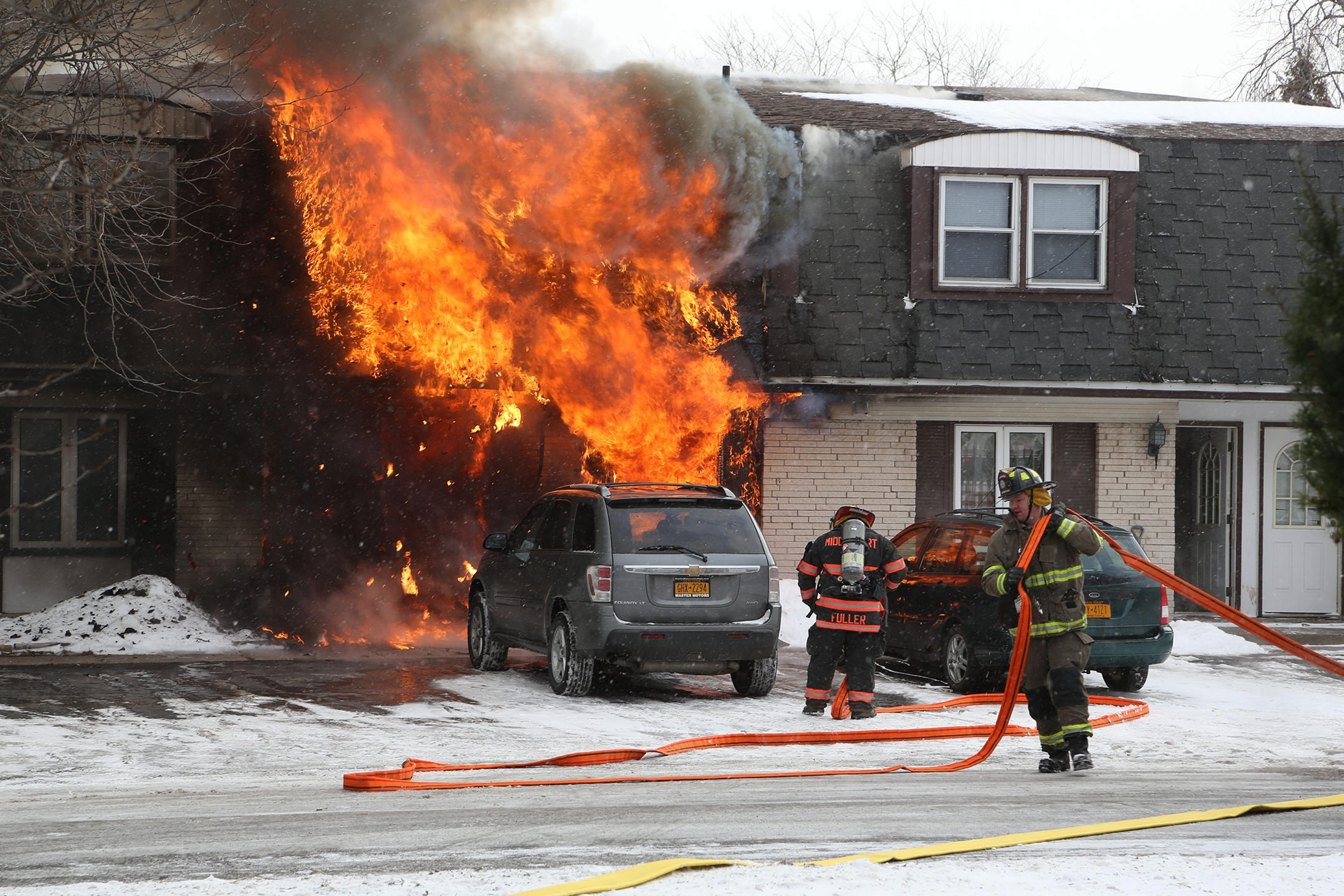 The front of this apartment building on Telegraph Road in Middleport was fully engulfed in flames when firefighters arrived. Four children and two adults were rescued from the blaze.