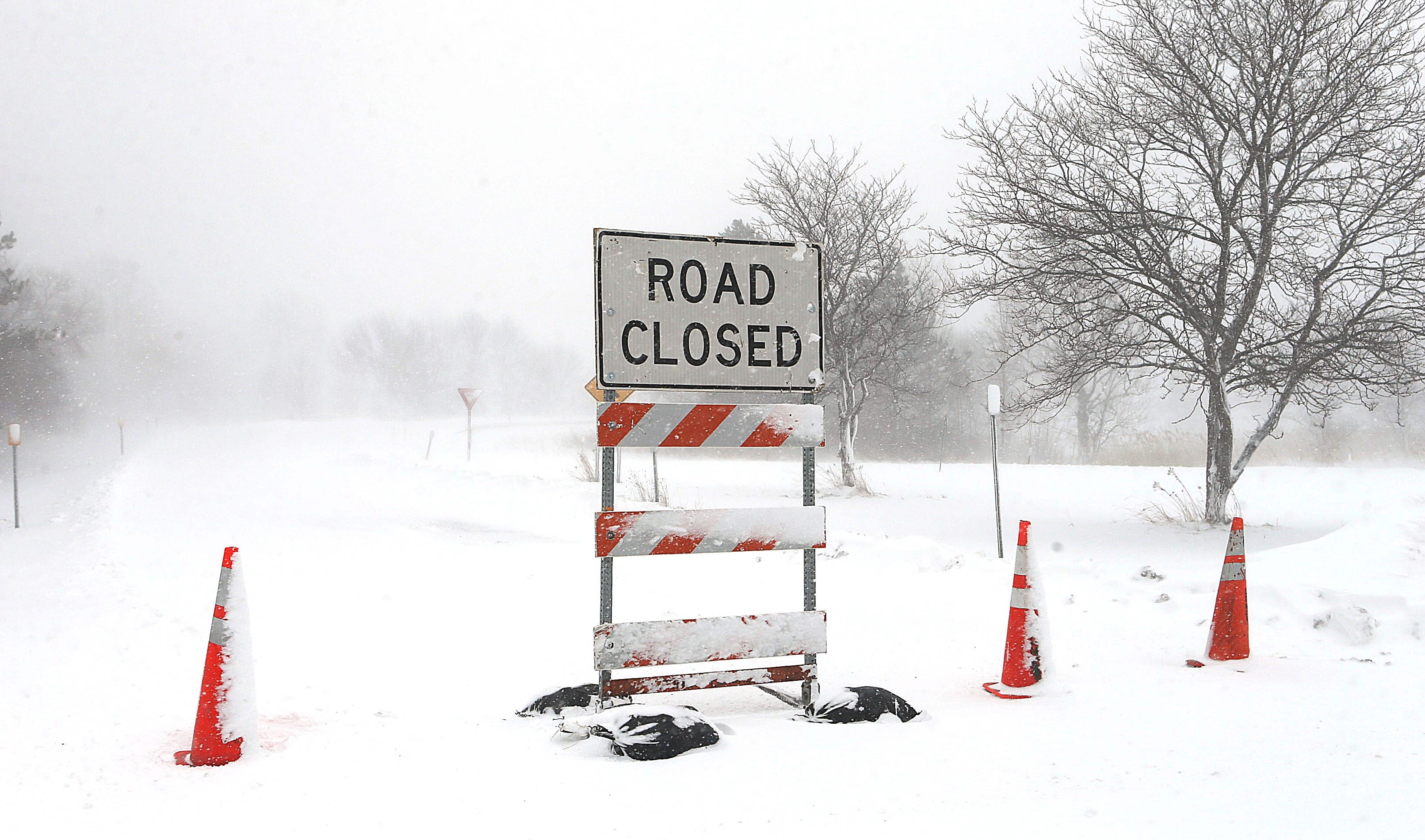 The entrance to Route 400 on Maple Street near East Aurora was closed Tuesday.