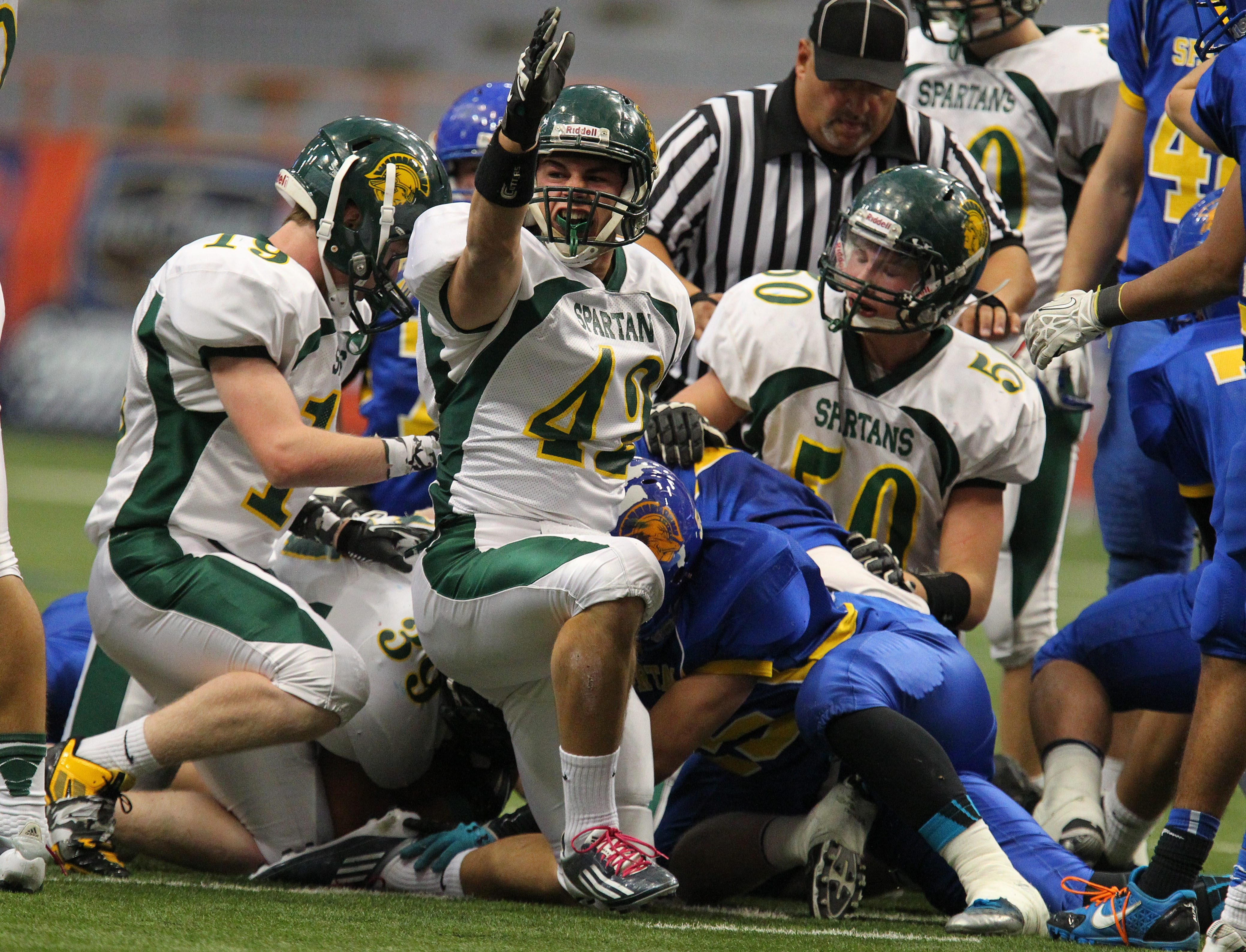 Jacob Ames, arm upraised, and Williamsville North came up a bit short in the Class A title game in Syracuse.
