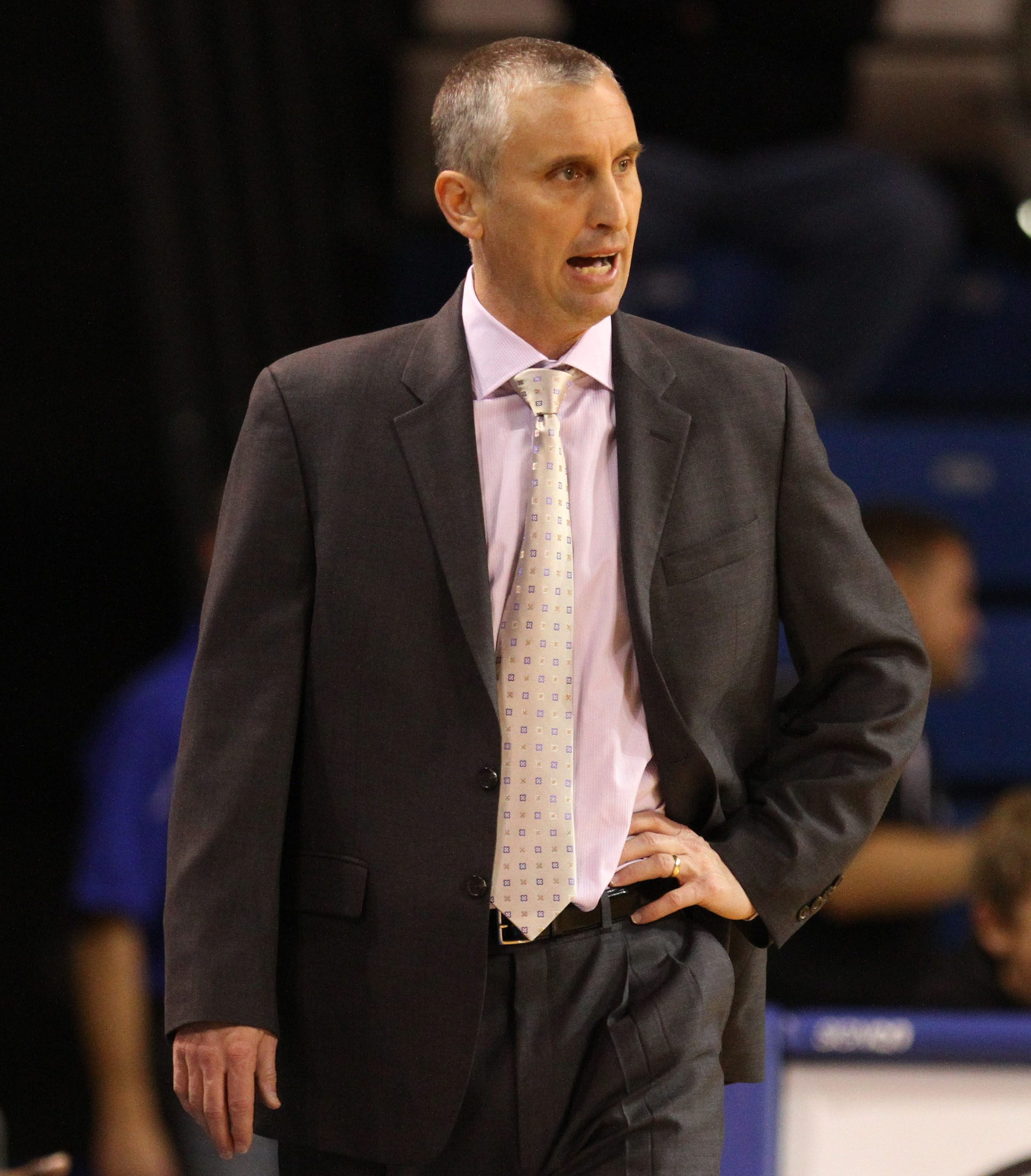 3 line cut UB coach Bobby Hurley talks with his players in the first half of the game at Alumni Arena in
