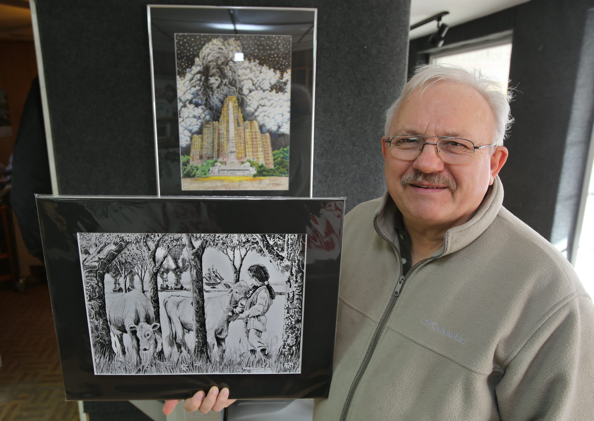 Artist George Banagis holds a drawing of War of 1812 historical figure Luther Wilson and his cattle, which is the subject of a small card to be distributed at national parks across the country.