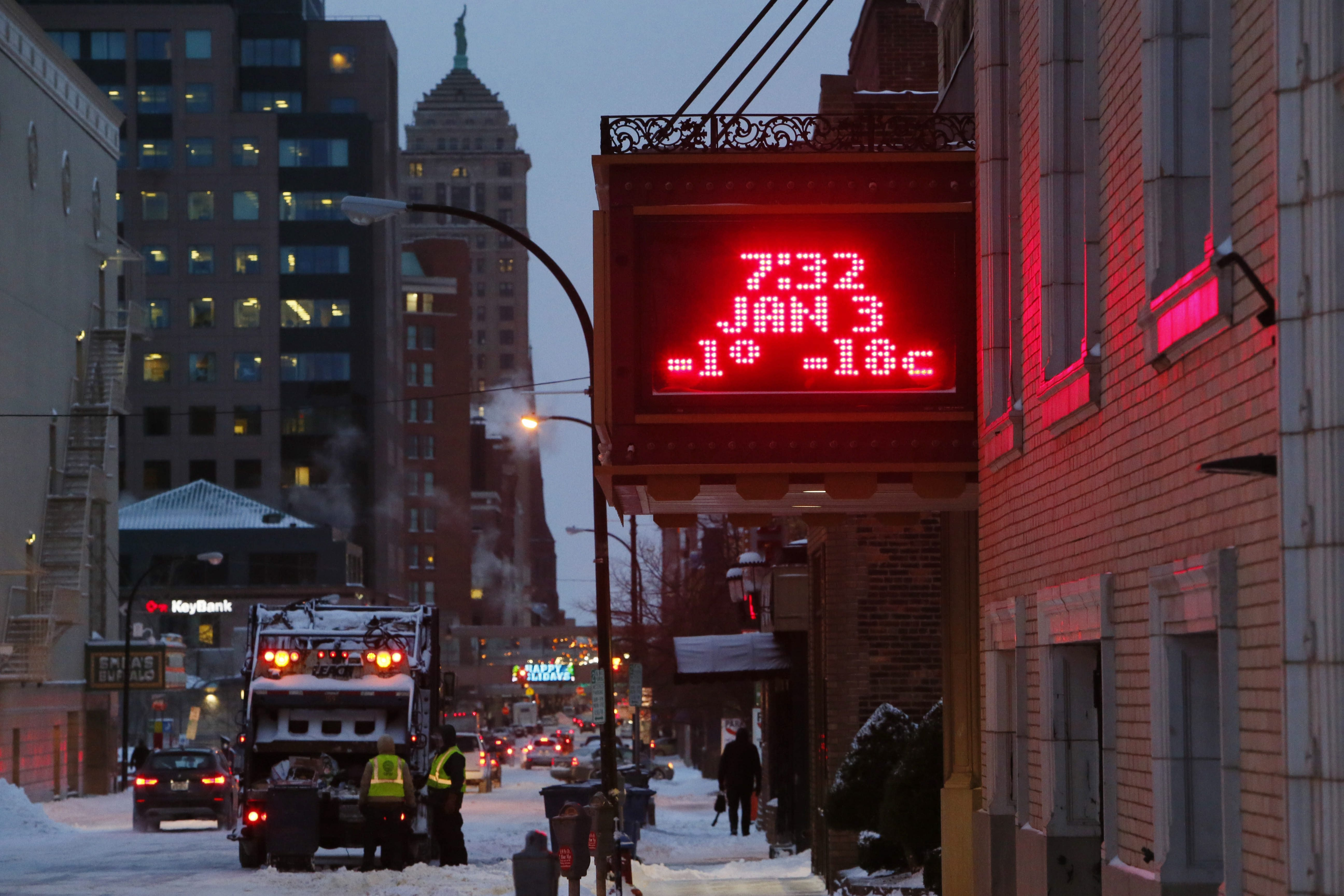 The digital sign on the marquee of the Forbes Theatre on Pearl Street displays the abnormally low temperature early today, Jan. 3, 2014.   (Derek Gee/Buffalo News)