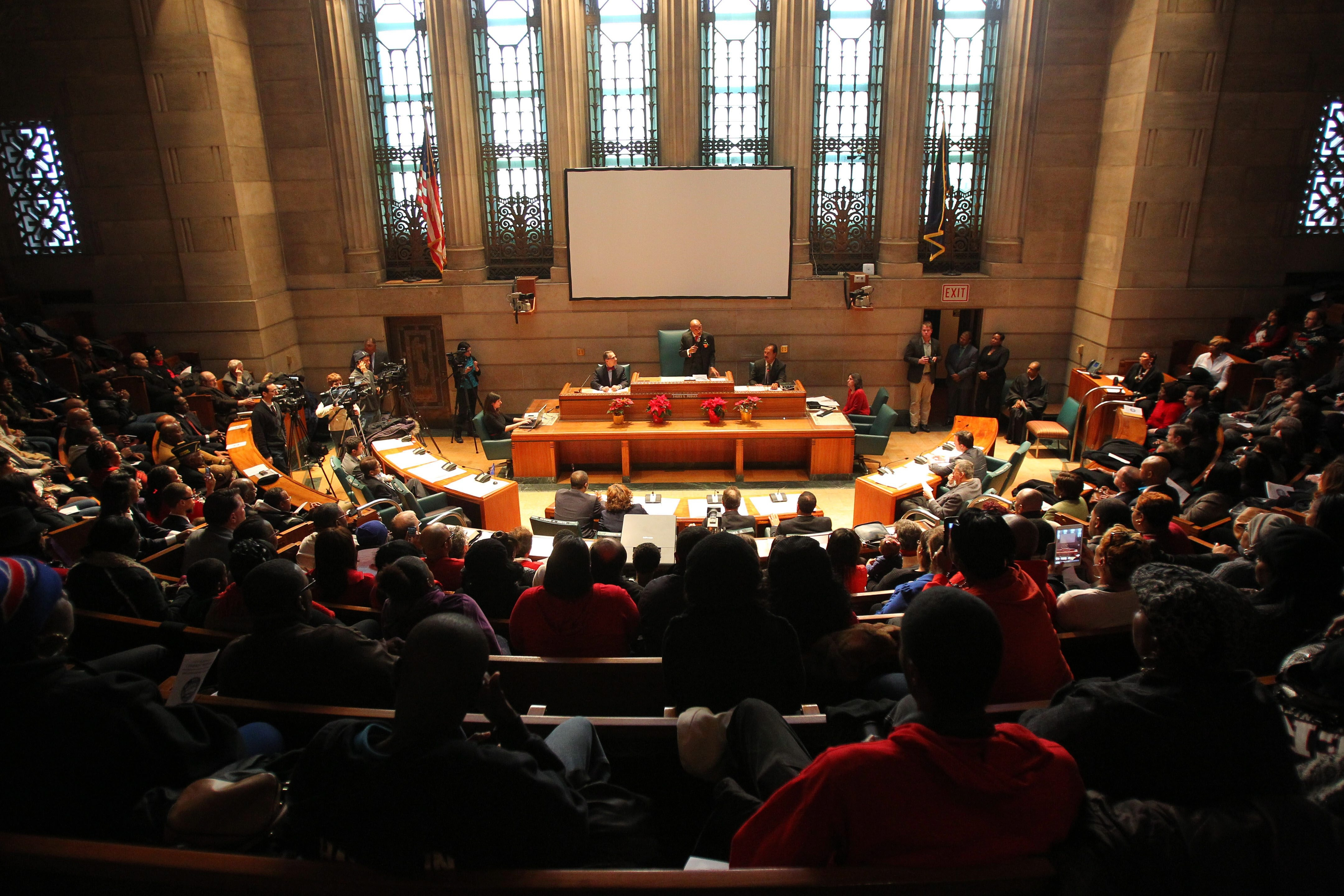Rev. Darius G. Pridgen speaks to a packed Council Chambers after being sworn in as president of the Common Council on Thursday.