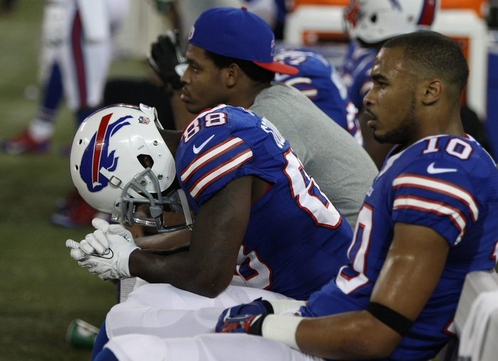 Marquise Goodwin (88) and his Bills' teammates realize playing games at Rogers Centre in Toronto doesn't help them win. (James P. McCoy/Buffalo News)