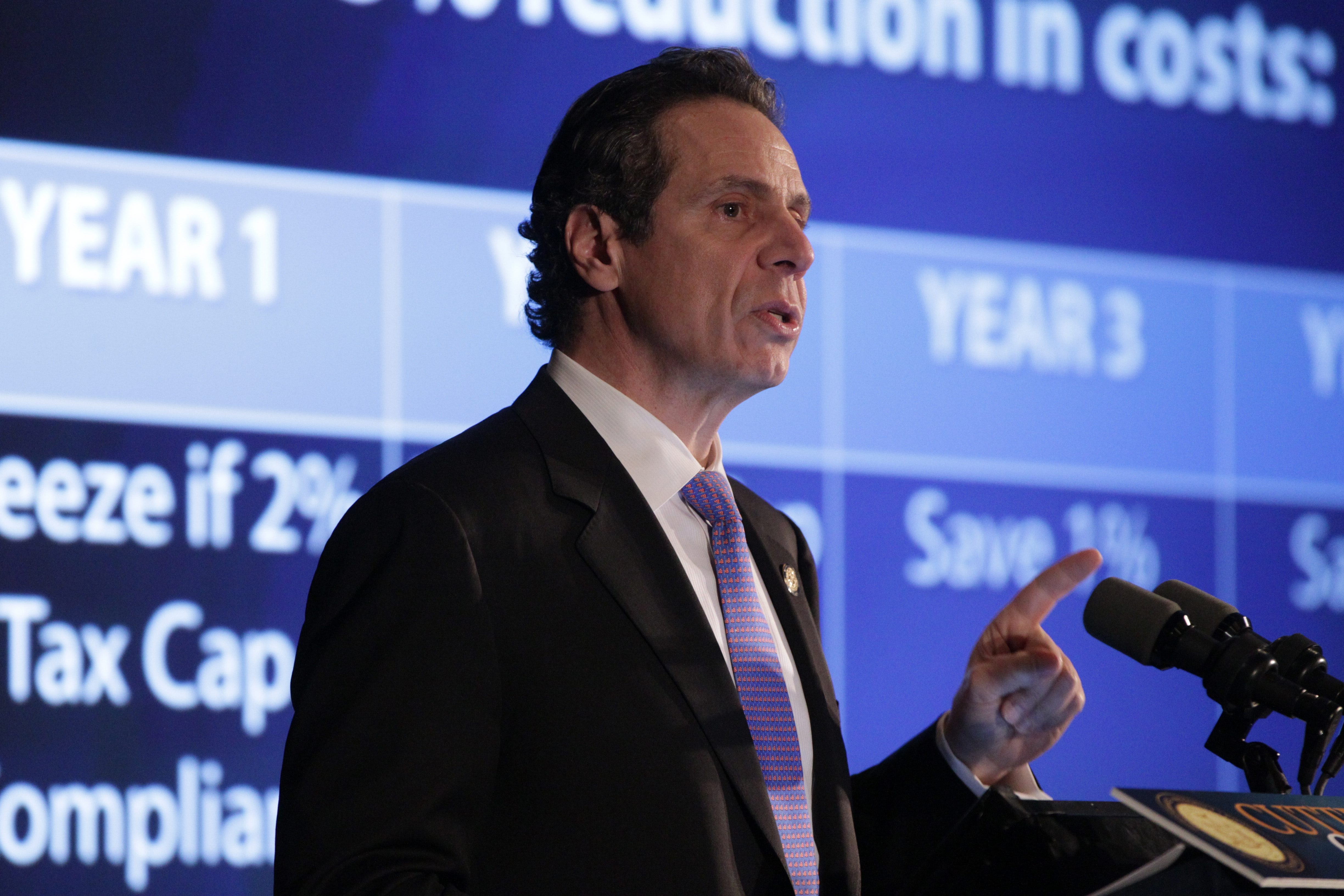 Gov. Andrew Cuomo presenting his 2014-15 executive budget at Classics V on Niagara Falls Boulevard in Amherst Monday.