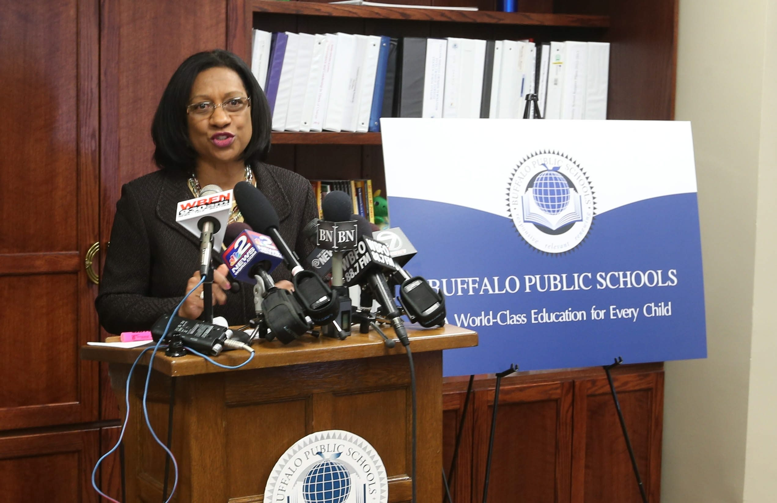 Superintendent Pamela Brown, at Thursday news conference, defends the way the resolution to rehire Mary Guinn was put before the board. (Robert Kirkham/Buffalo News)