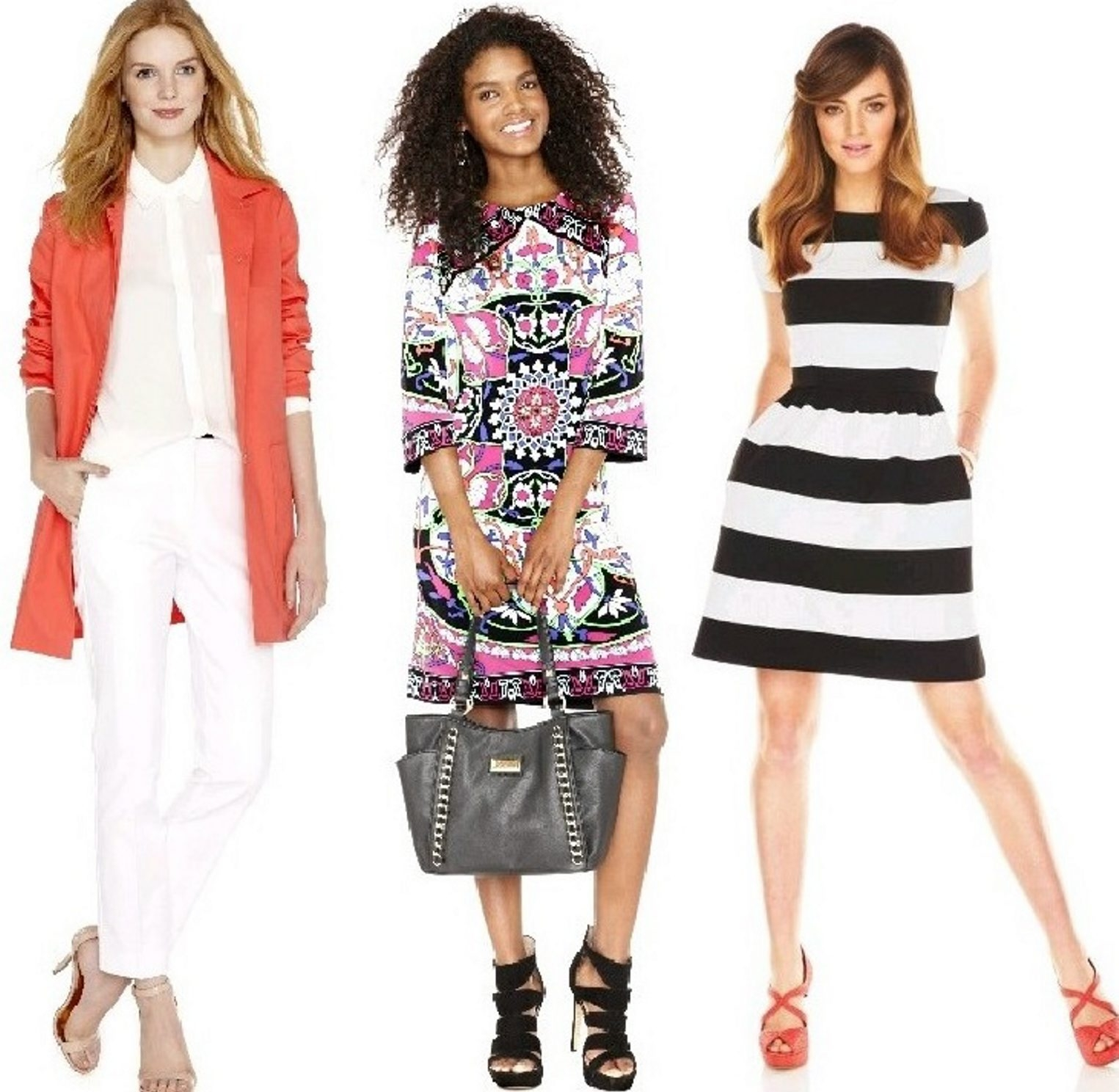 Looks for spring include, from left: Pinks and corals from Joe Fresh collection, J.C. Penney; bold prints in dress by nicole from Nicole Miller at J.C. Penney; and stripes from the Elle collection at Kohl's.