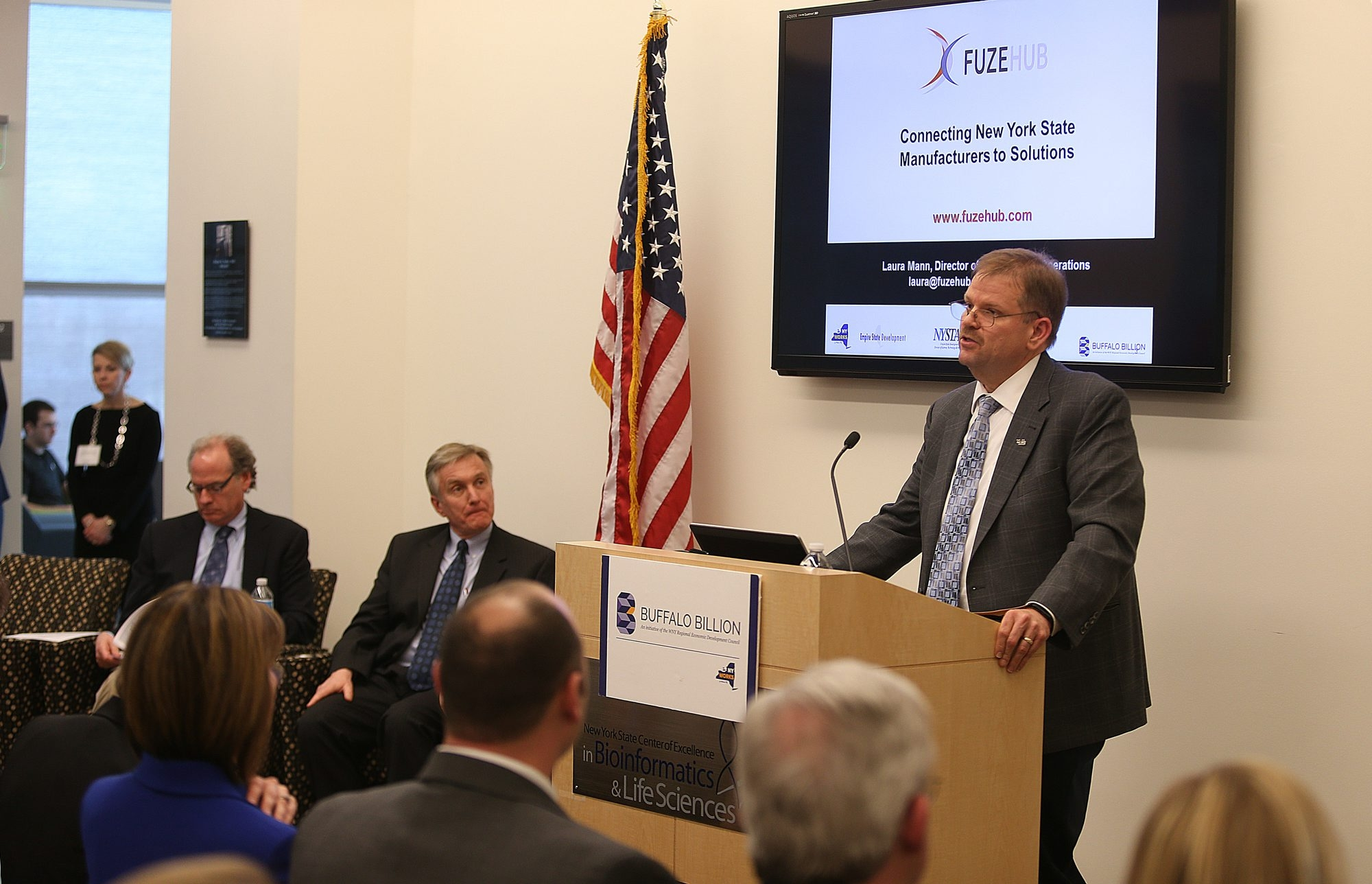 Alexander Cartwright, vice president for research and economic development at the University at Buffalo, speaks during a conference Thursday about the new Buffalo Niagara Advanced Manufacturing Institute to be opened on the Buffalo Niagara Medical Campus.