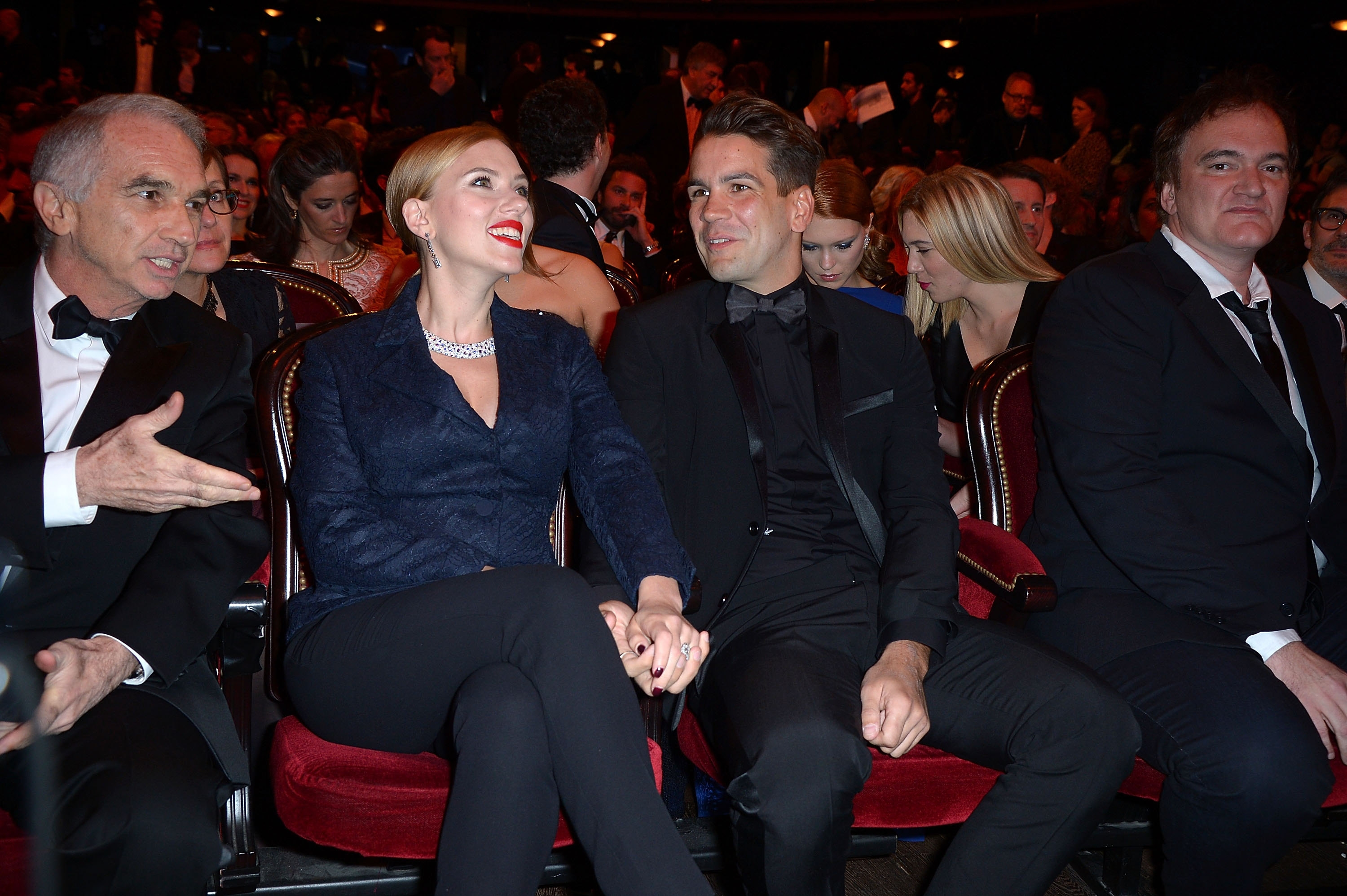Scarlett Johansson was in Paris Friday with Romain Dauriac to accept a lifetime achievement award at the 39th Cesar Film Awards 2014 at Theatre du Chatelet.