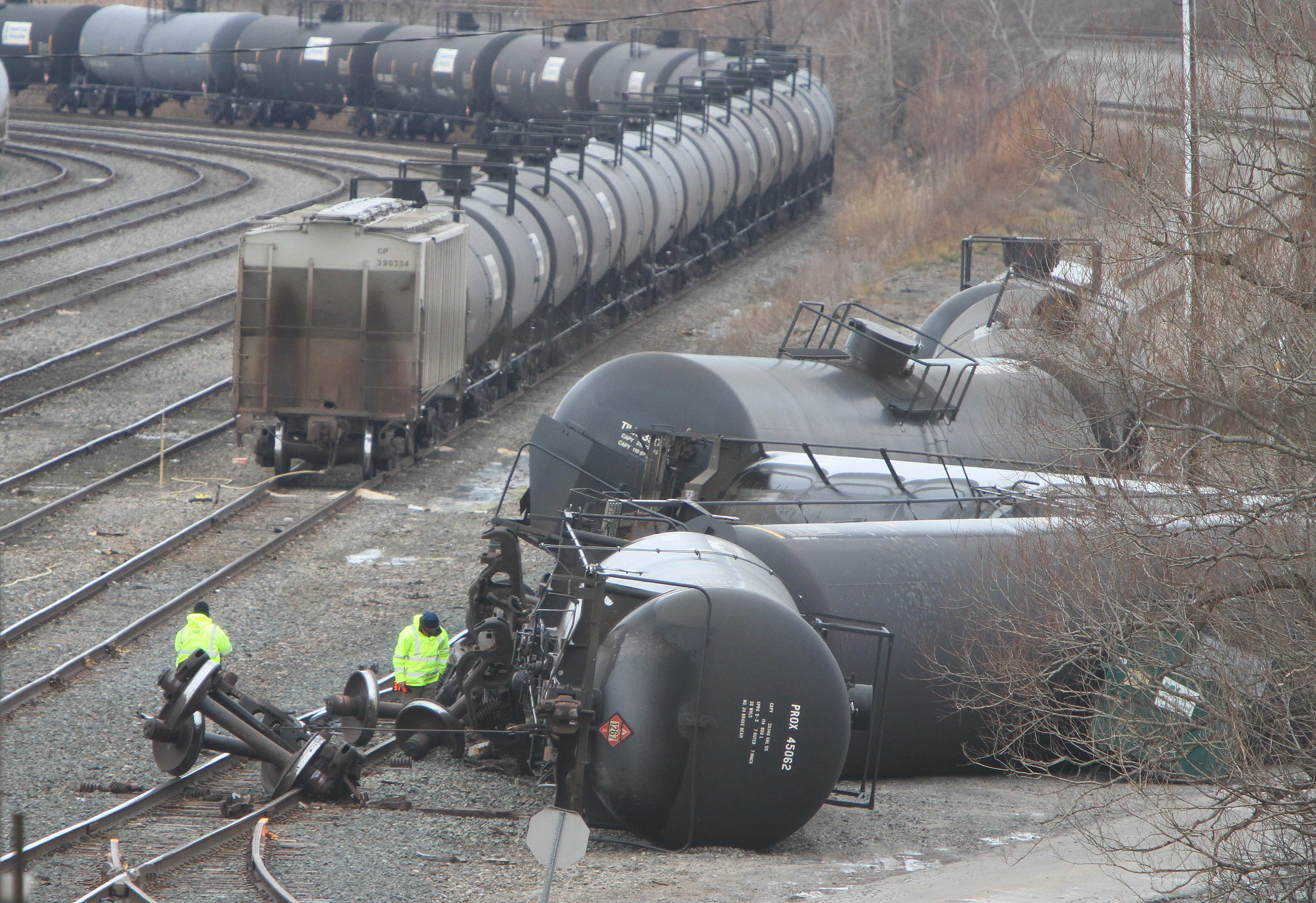 Crews work on some overturned crude oil cars in the CSX yard in Cheektowaga on Dec. 10. The accident did not cause a spill.