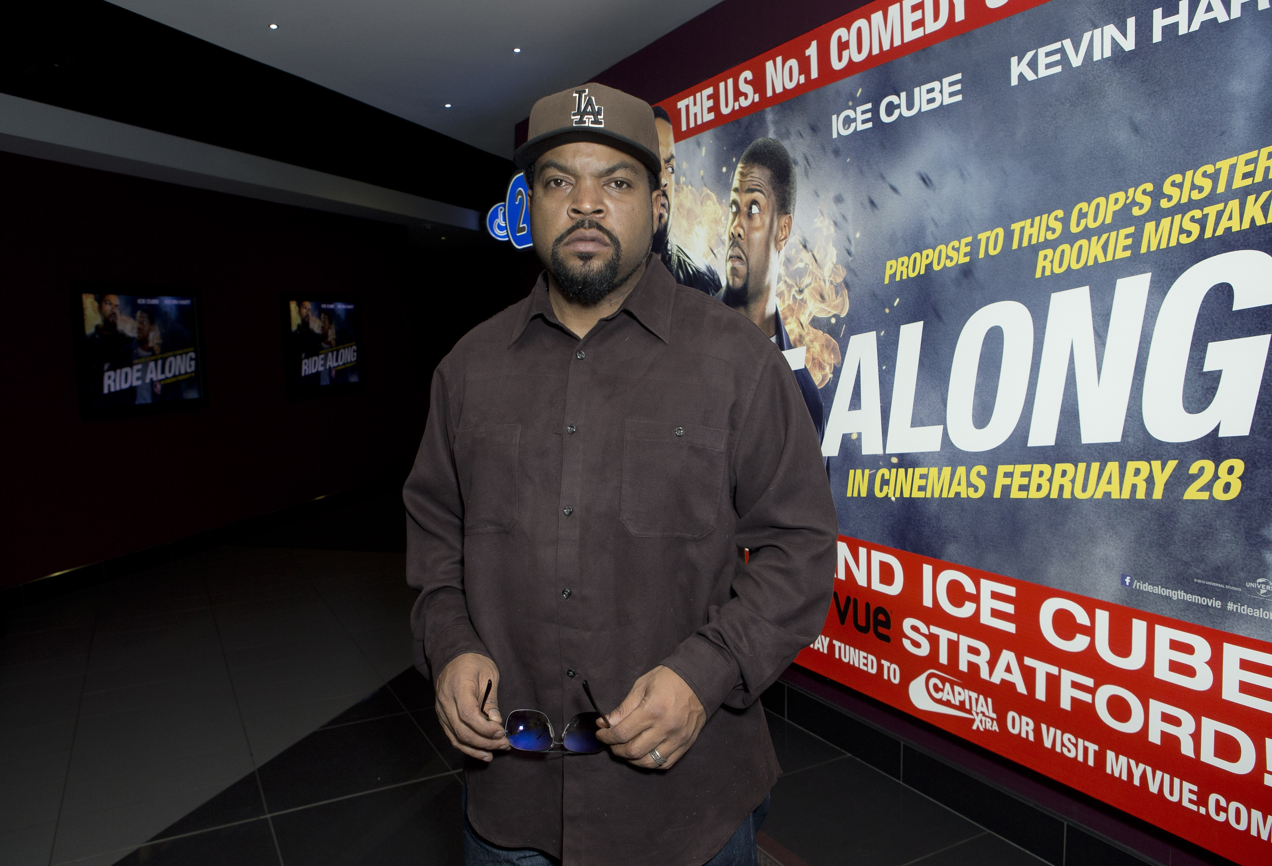 """Ready for film screening: Actor Ice Cube arrives for the screening of """"Ride Along"""" in the Vue Cinema at Stratford, east London, on Thursday."""
