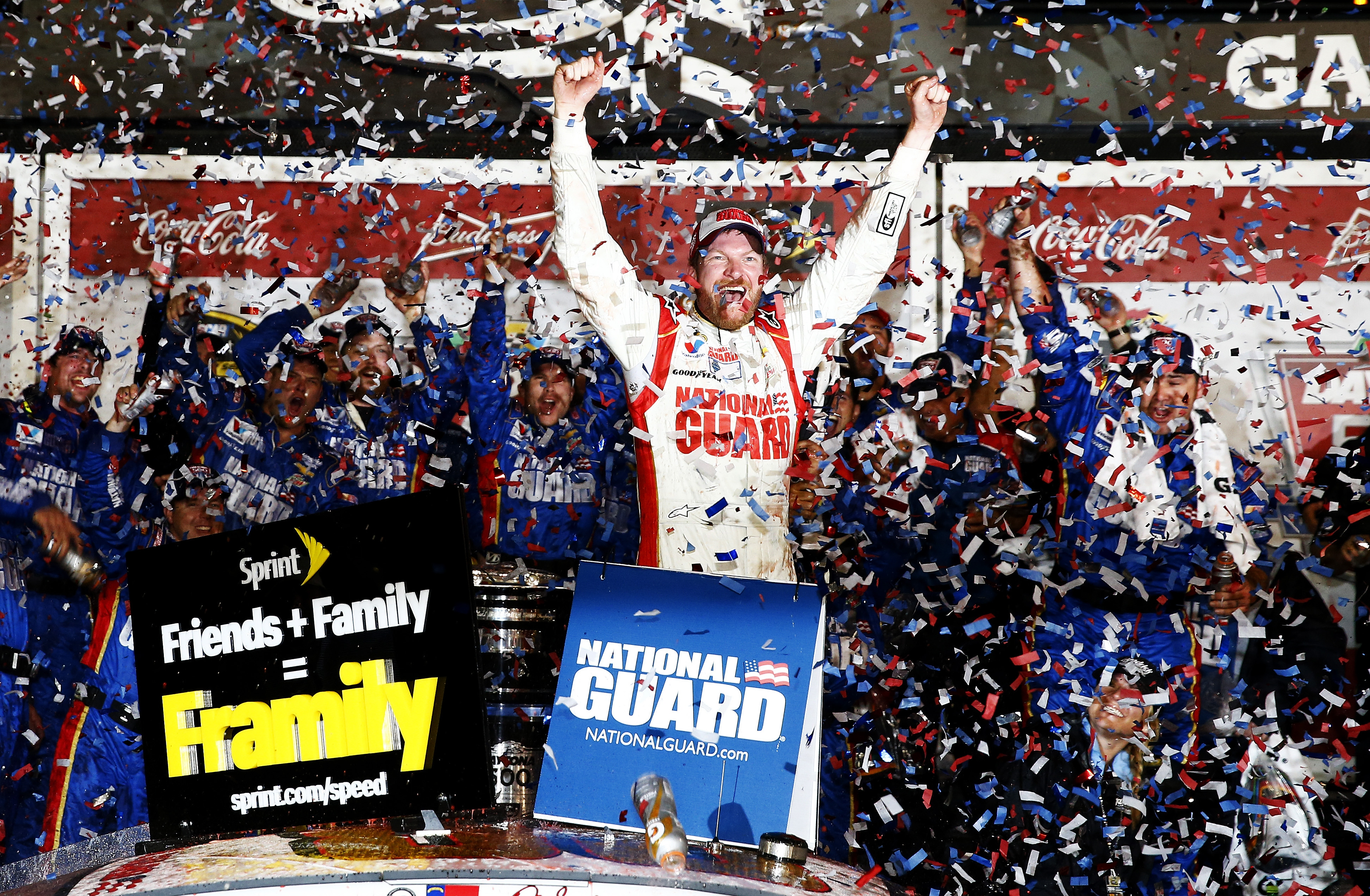 Dale Earnhardt Jr., driver of the #88 National Guard Chevrolet, celebrates in Victory Lane after winning the NASCAR Sprint Cup Series Daytona 500 on Sunday night, his second career win in the Great American Race.