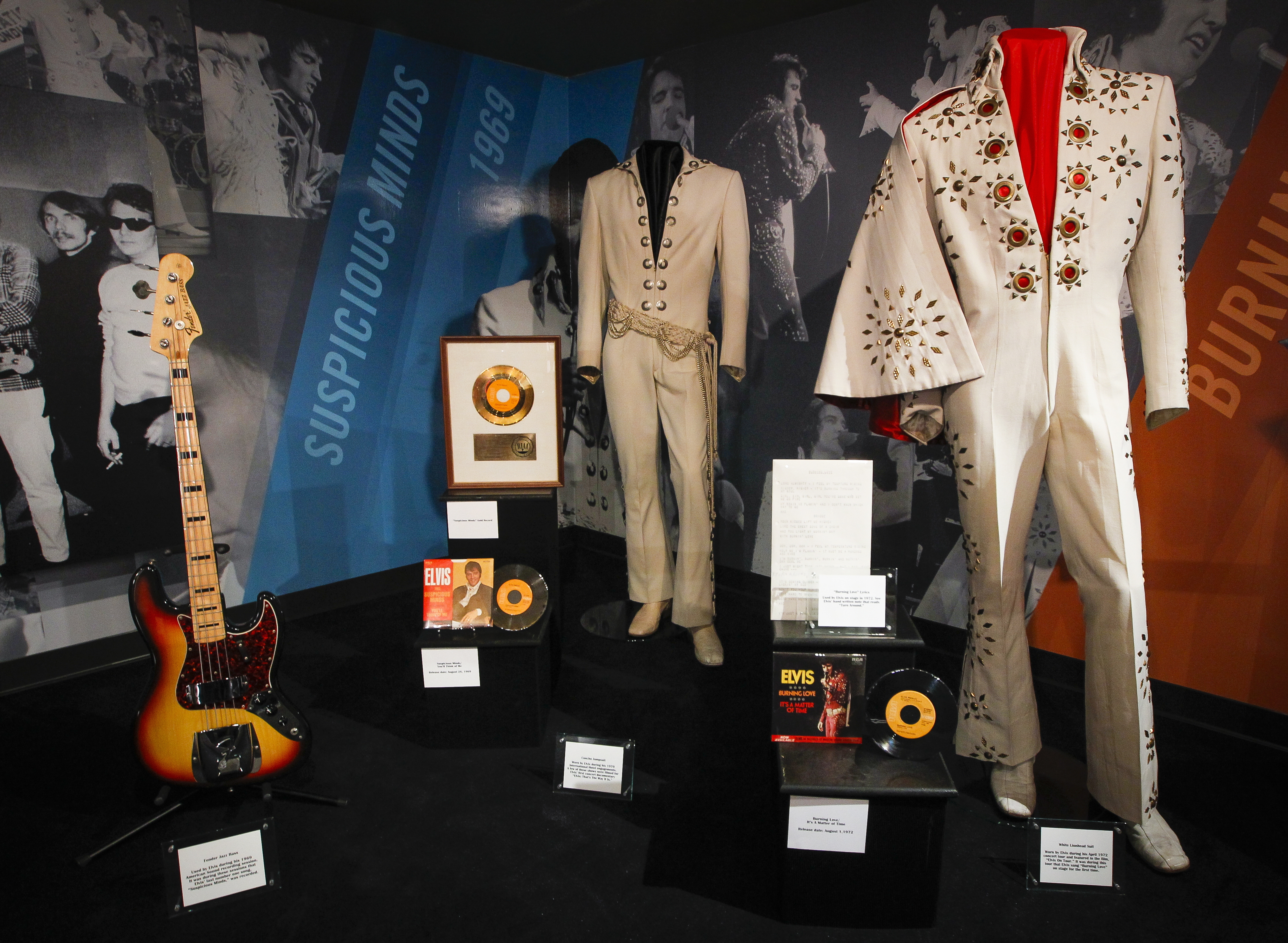 """A new """"60 years of Elvis"""" exhibit sits inside an annex at Graceland in Memphis, Tenn. The exhibit celebrates 60 years since Elvis cut his first record at Sun Studio."""
