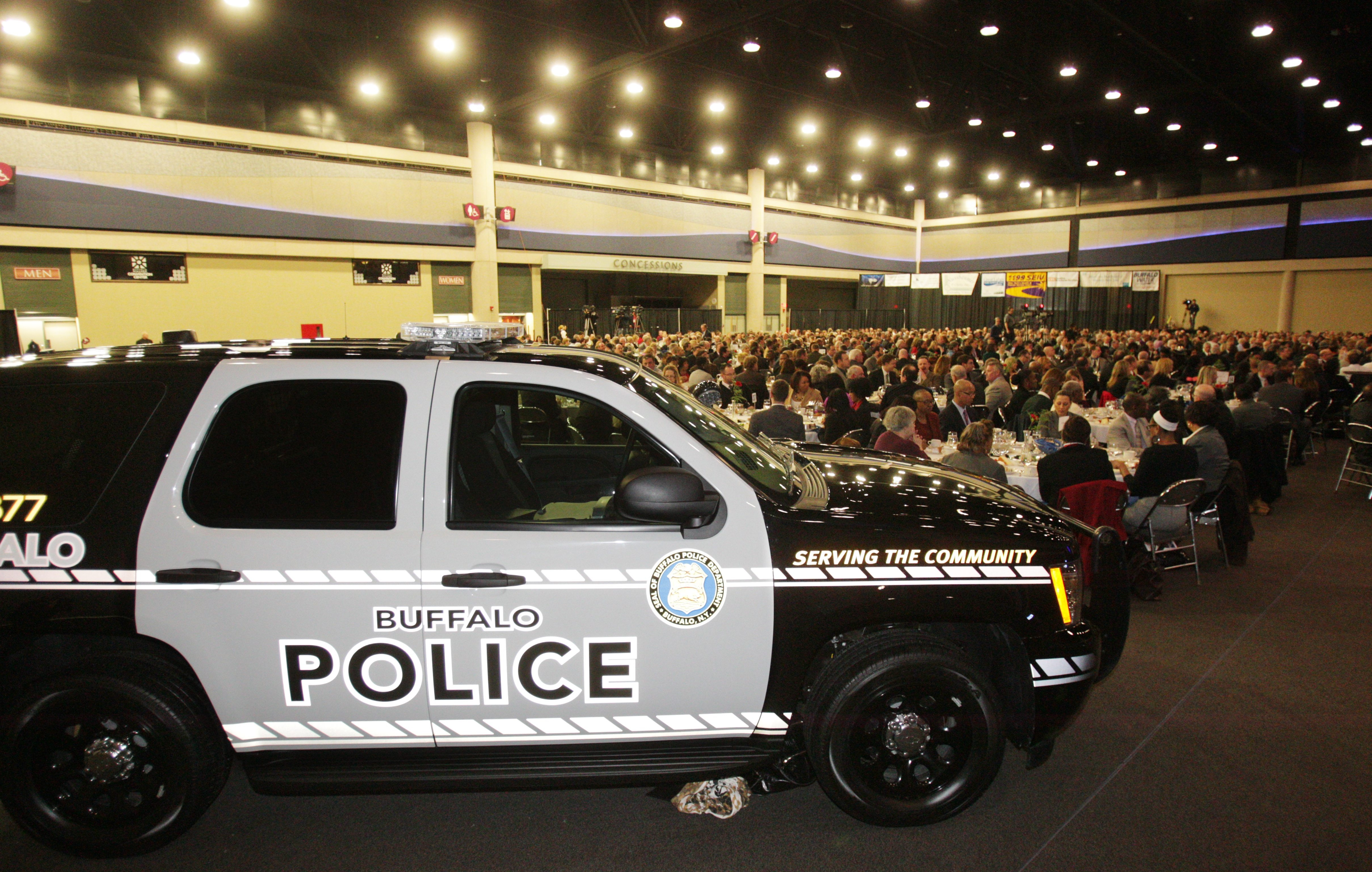 One the Buffalo Police Department's new police cruisers was unveiled during Mayor Byron W. Brown's State of the City speech Friday.