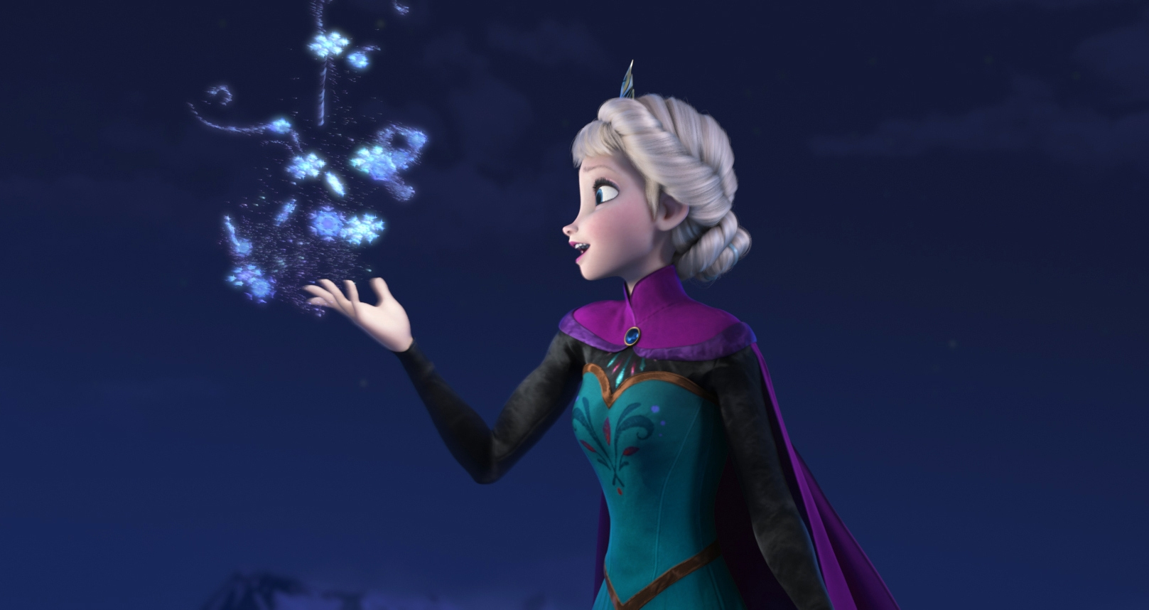 """""""Let It Go,"""" the anthem of Elsa, above, in Disney's """"Frozen,"""" is a favorite to win an Oscar. It was composed by husband-and-wife team Robert Lopez and Kristen Anderson-Lopez."""