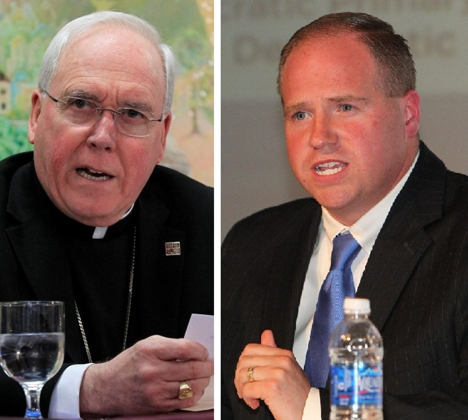 """Bishop Richard J. Malone, left, says he is """"extremely disappointed"""" that State Sen. Timothy M. Kennedy, right, has adopted a pro-choice position on abortion. (Buffalo News file photos)"""