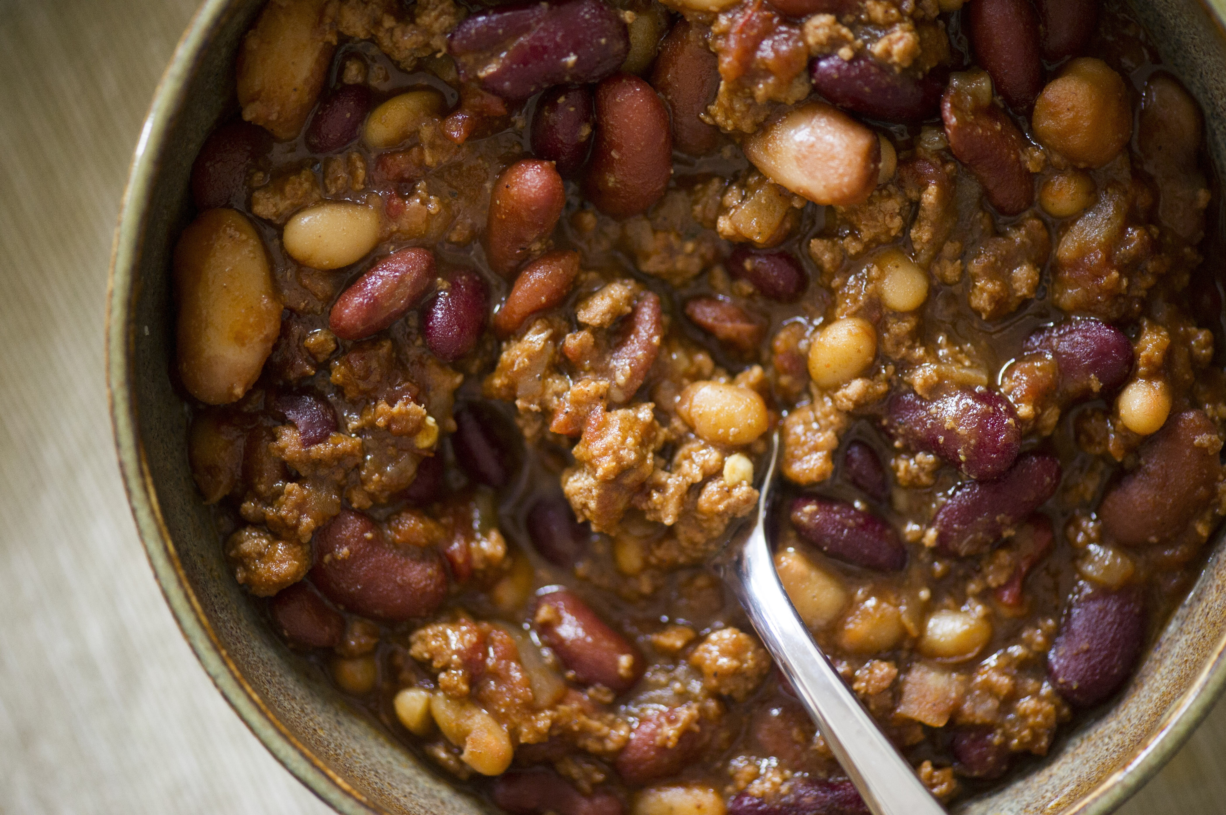 Just Good Chili, with chocolate and coffee added for complexity, hot sauce for kick, and beans.