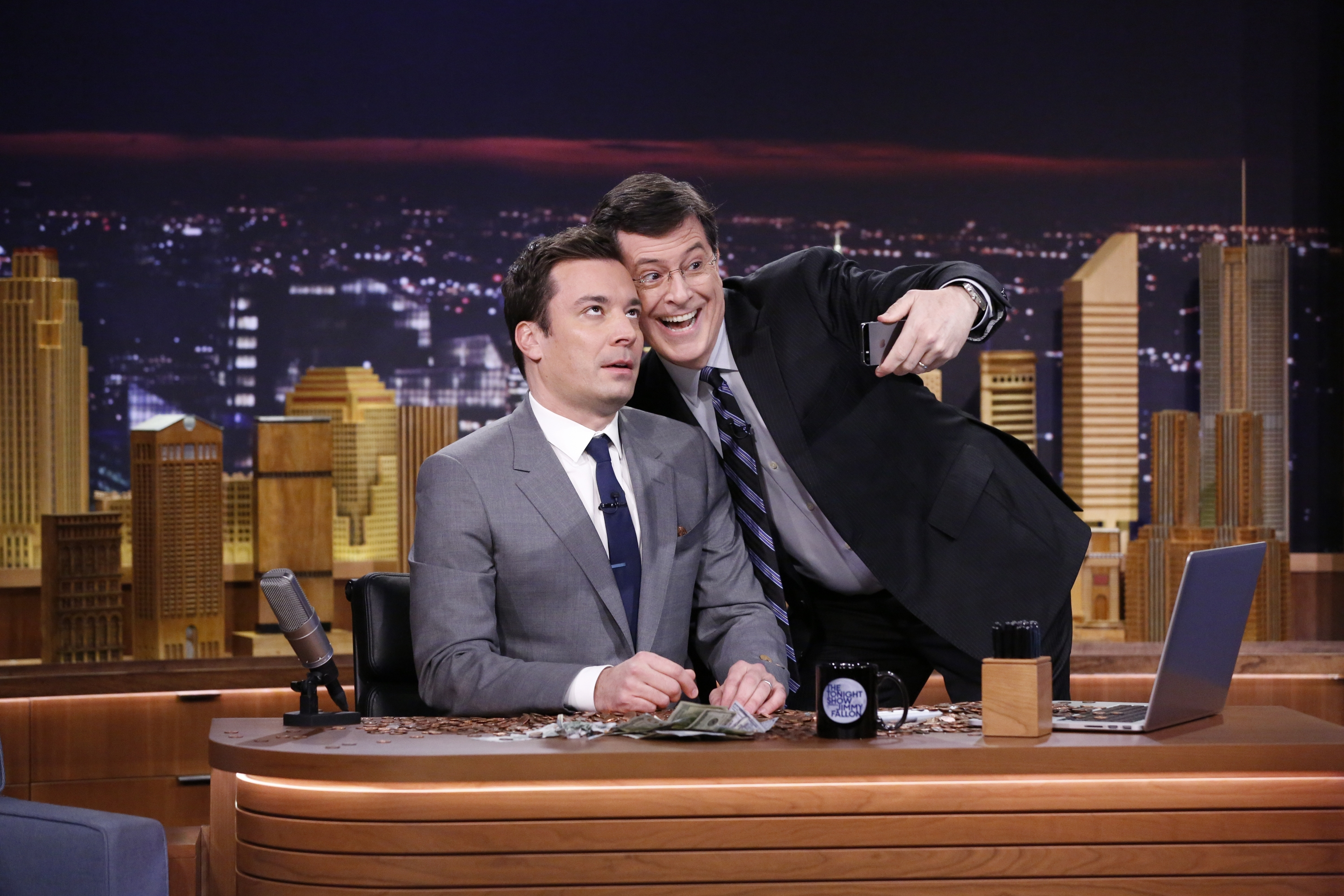 "Jimmy Fallon appears with Stephen Colbert, right, during his ""The Tonight Show"" debut on Monday, in New York. Fallon replaced Jay Leno, who hosted for 22 years."
