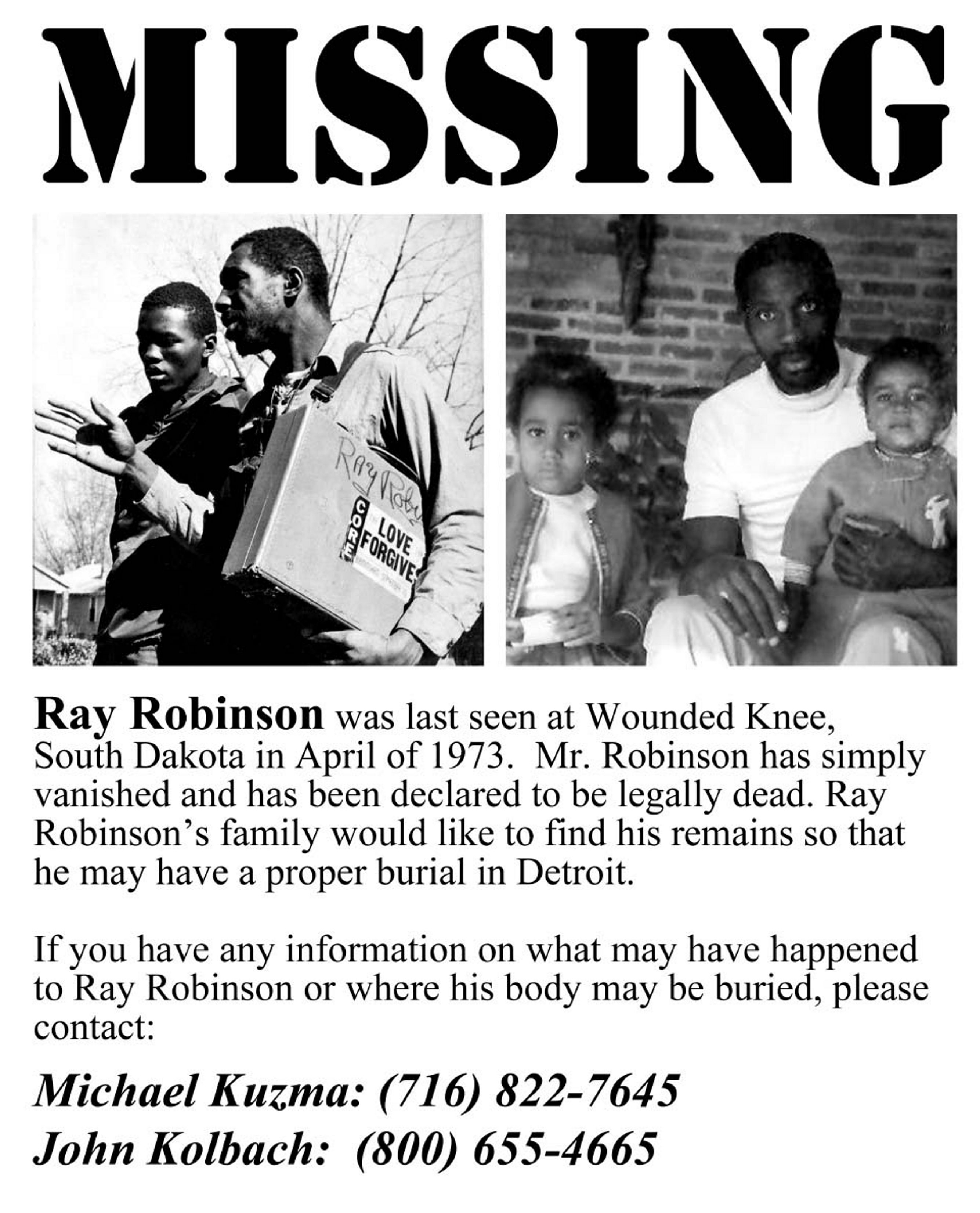"""The Robinson family circulated this """"missing"""" poster in South Dakota."""
