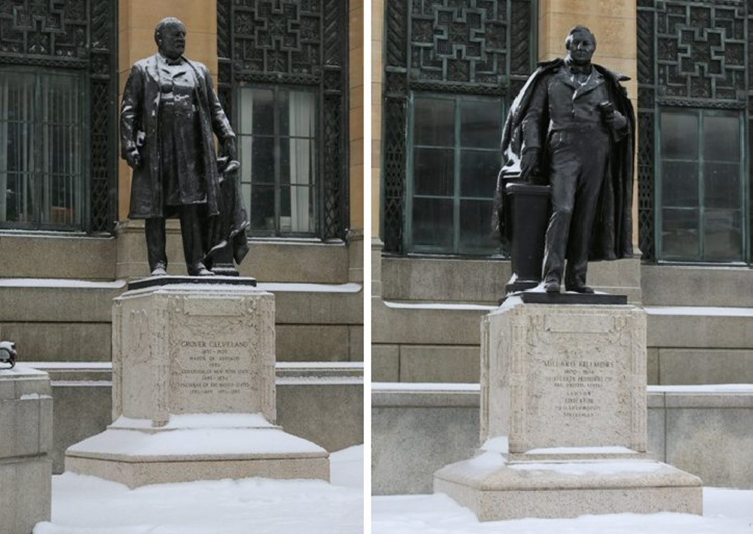 Bronze statues at Buffalo City Hall commemorate Grover Cleveland, left, and Millard Fillmore. (Charles Lewis/Buffalo News)