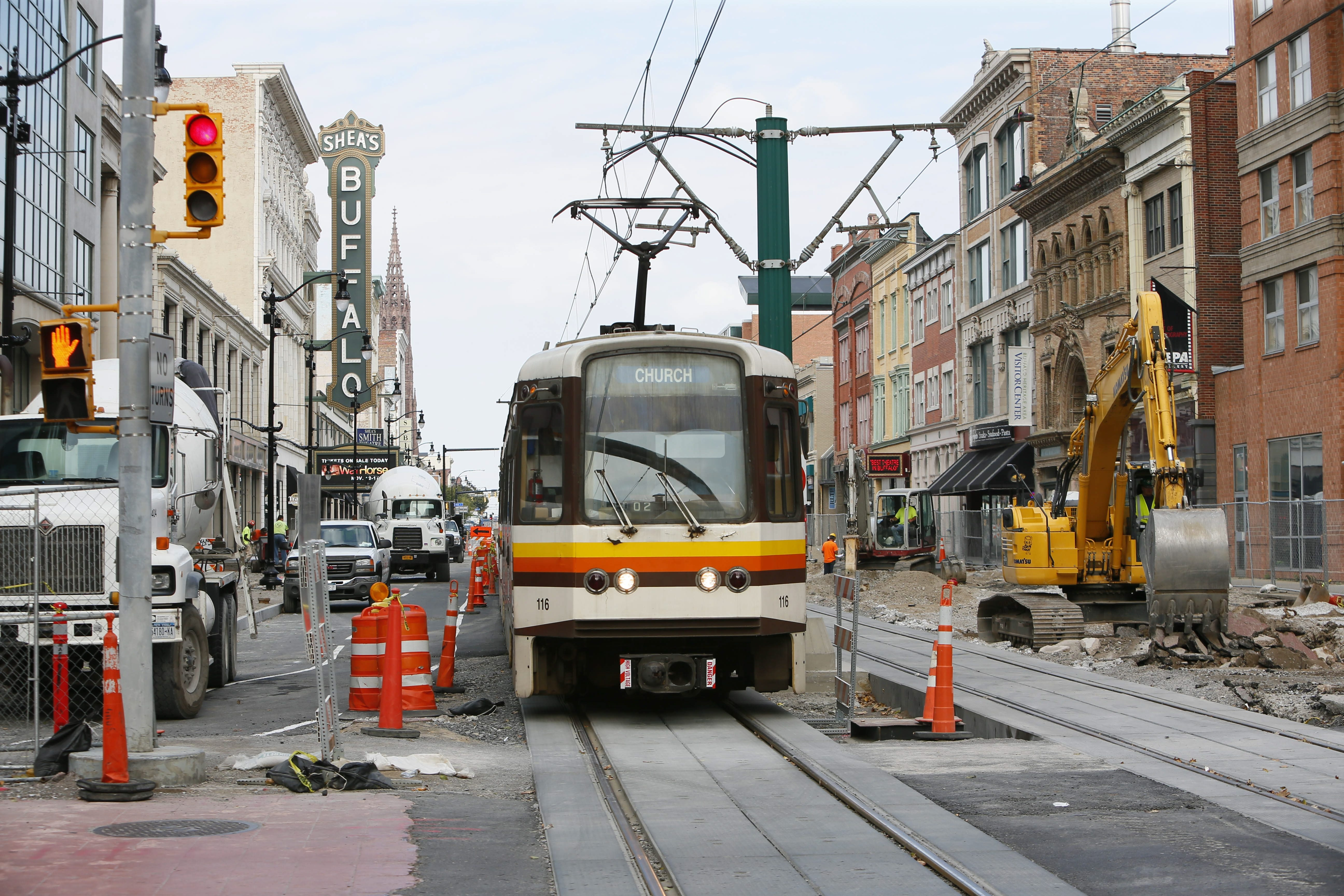NFTA Metro Rail traffic will be reduced to one track on the 600 block of Main Street by work to restore auto traffic.