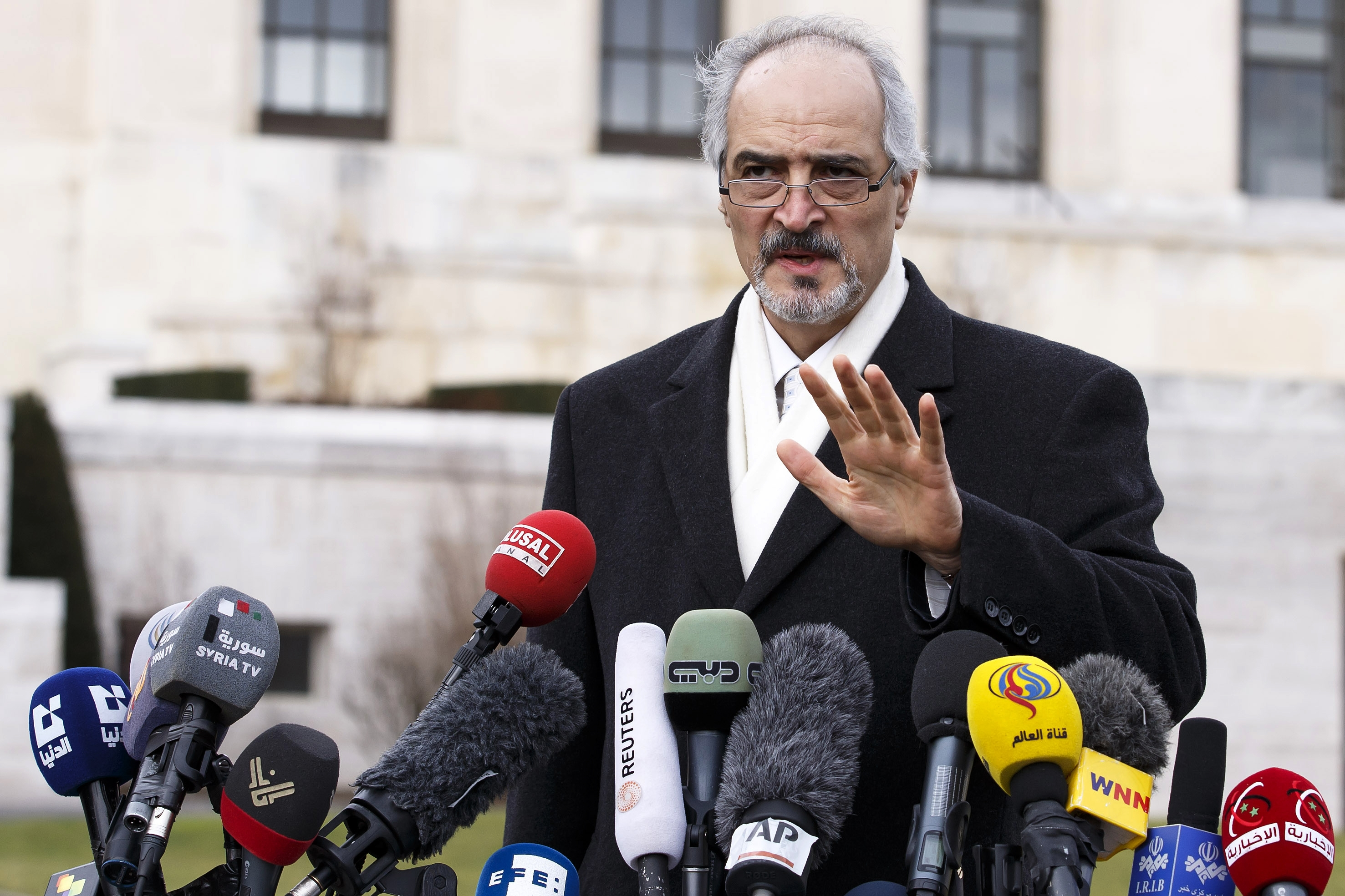 Syrian chief negotiator Bashar Jaafari on Saturday lashed out at the United States and its allies for stepping up military aid to the rebels.