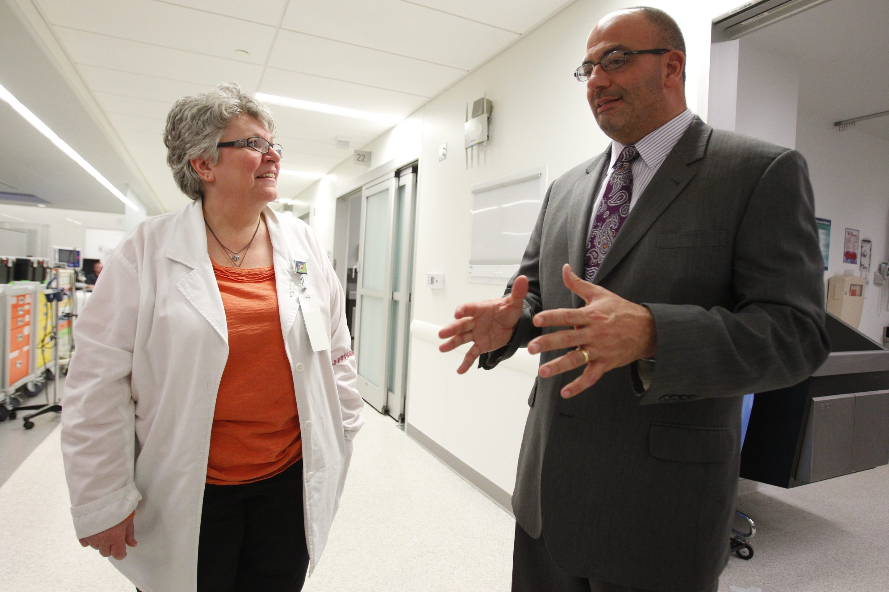 Jody L. Lomeo, left, Kaleida Health's interim CEO, talks with nurse Desiree Lorbs at Buffalo General Medical Center.